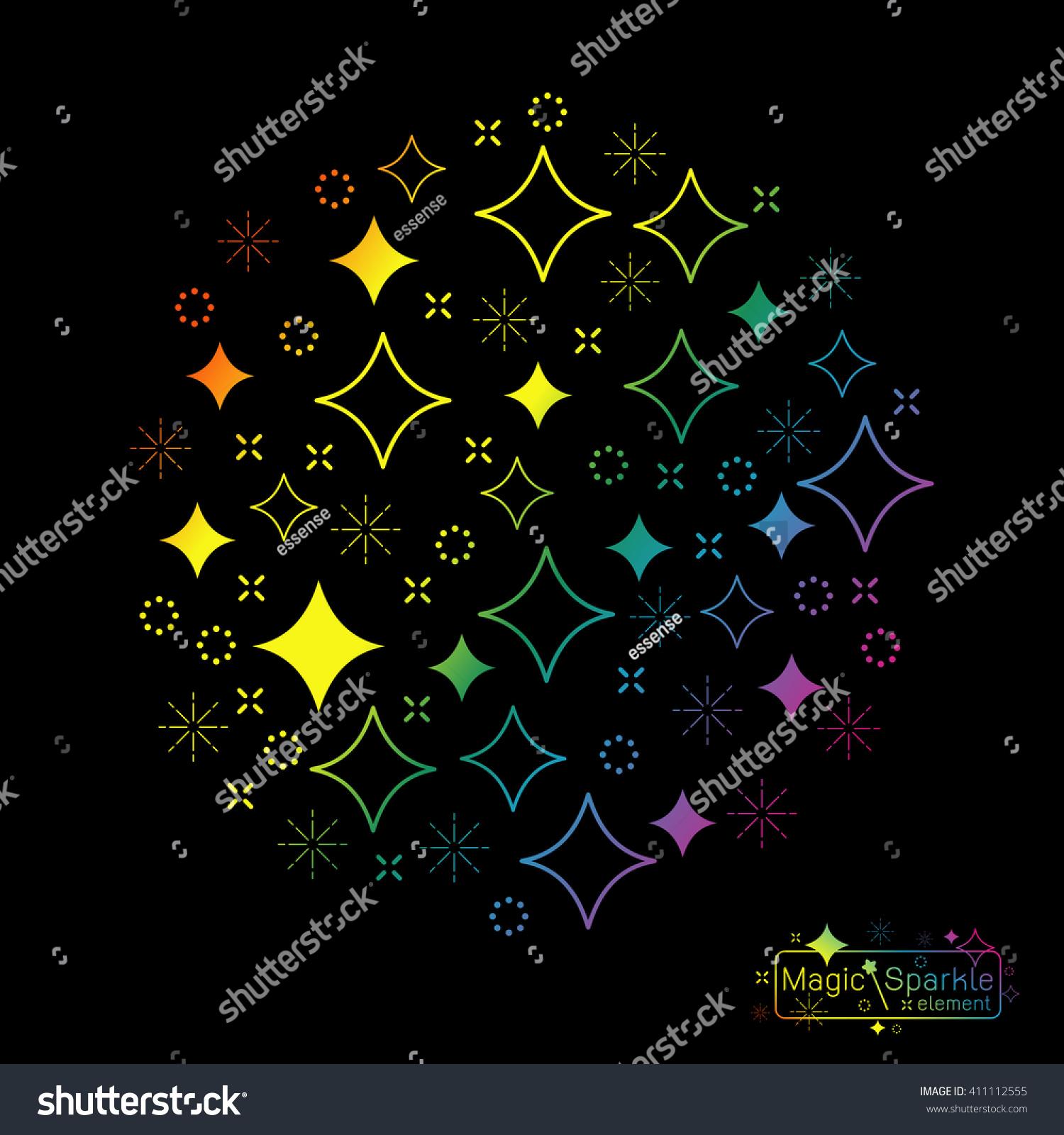 Set Magic Sparkle Wand Design Elements Stock Vector 411112555 ...