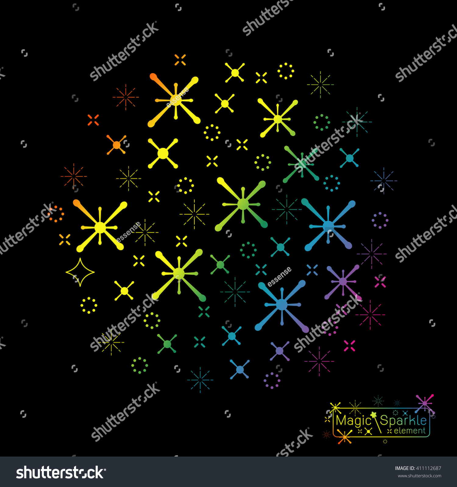 Set Magic Sparkle Wand Design Elements Stock Vector 411112687 ...