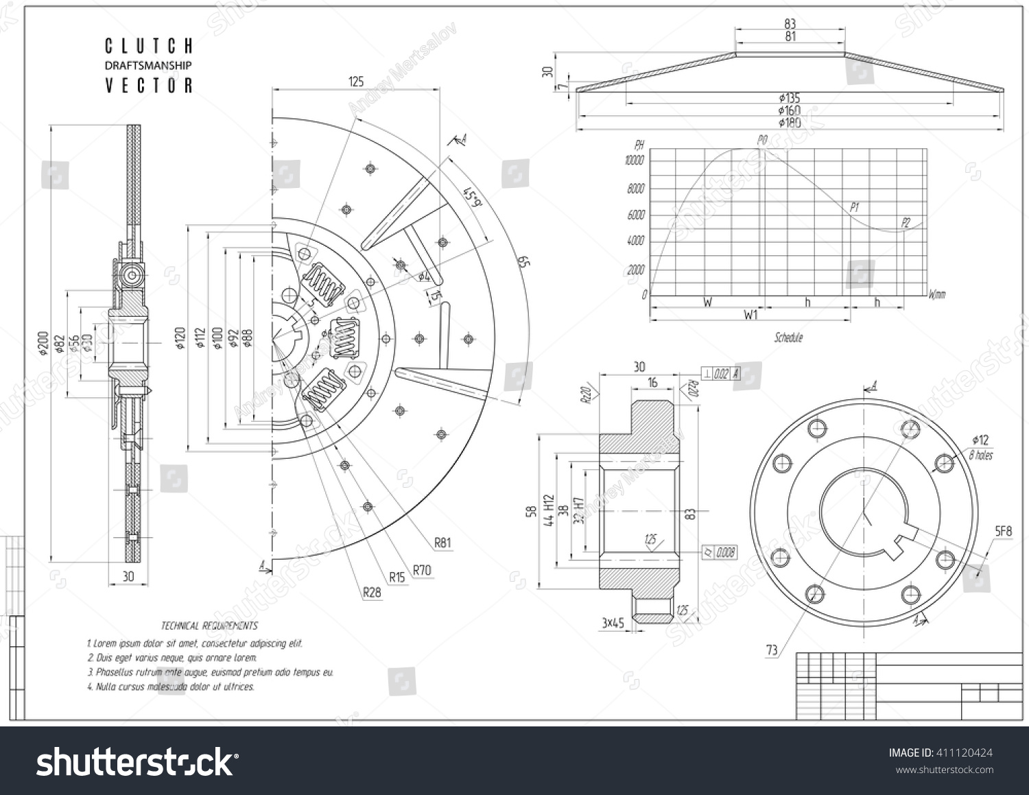 technical drawing clutch construction draft horizontal stock vector