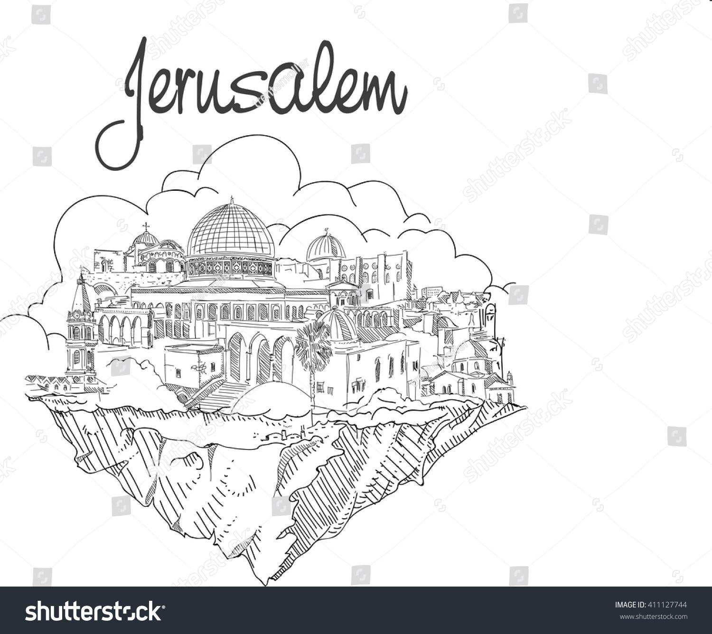 Line Art Jerusalem : Vector hand drawing flying land jerusalem stock