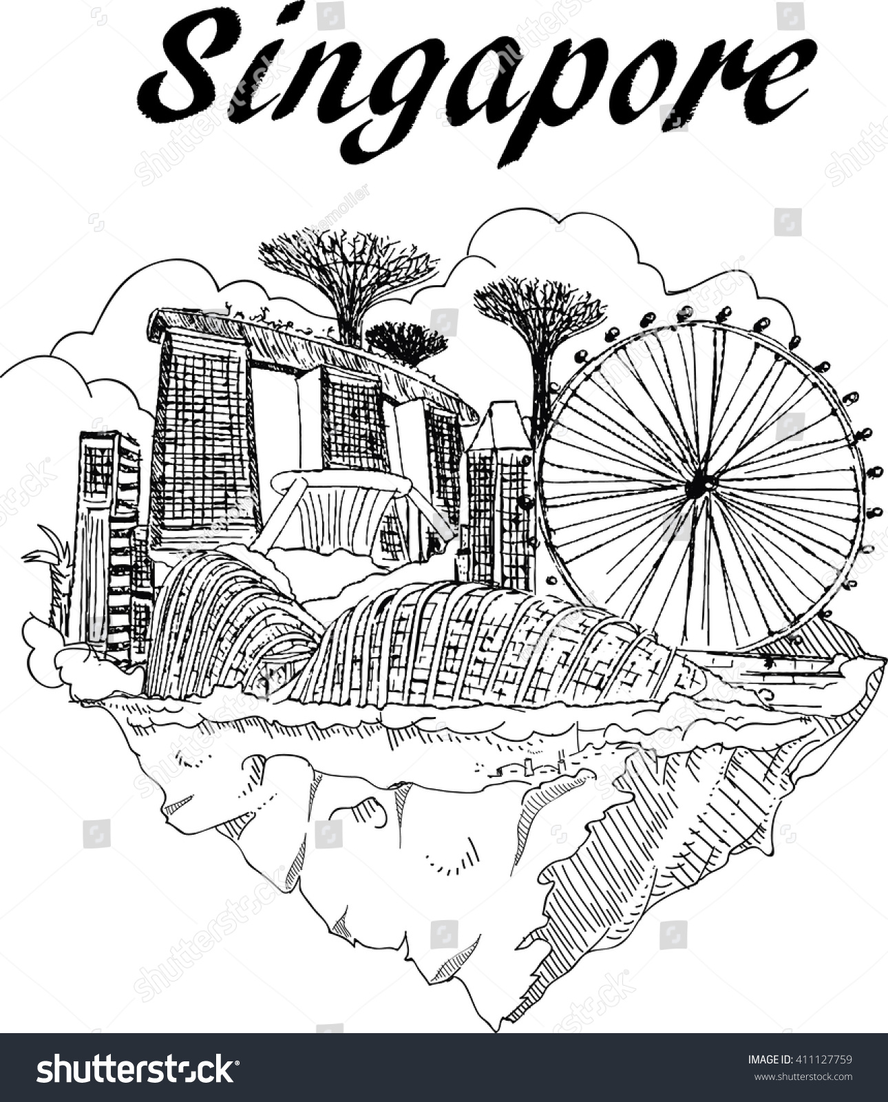 Colouring book for adults singapore - Vector Hand Drawing Singapore City Sketch