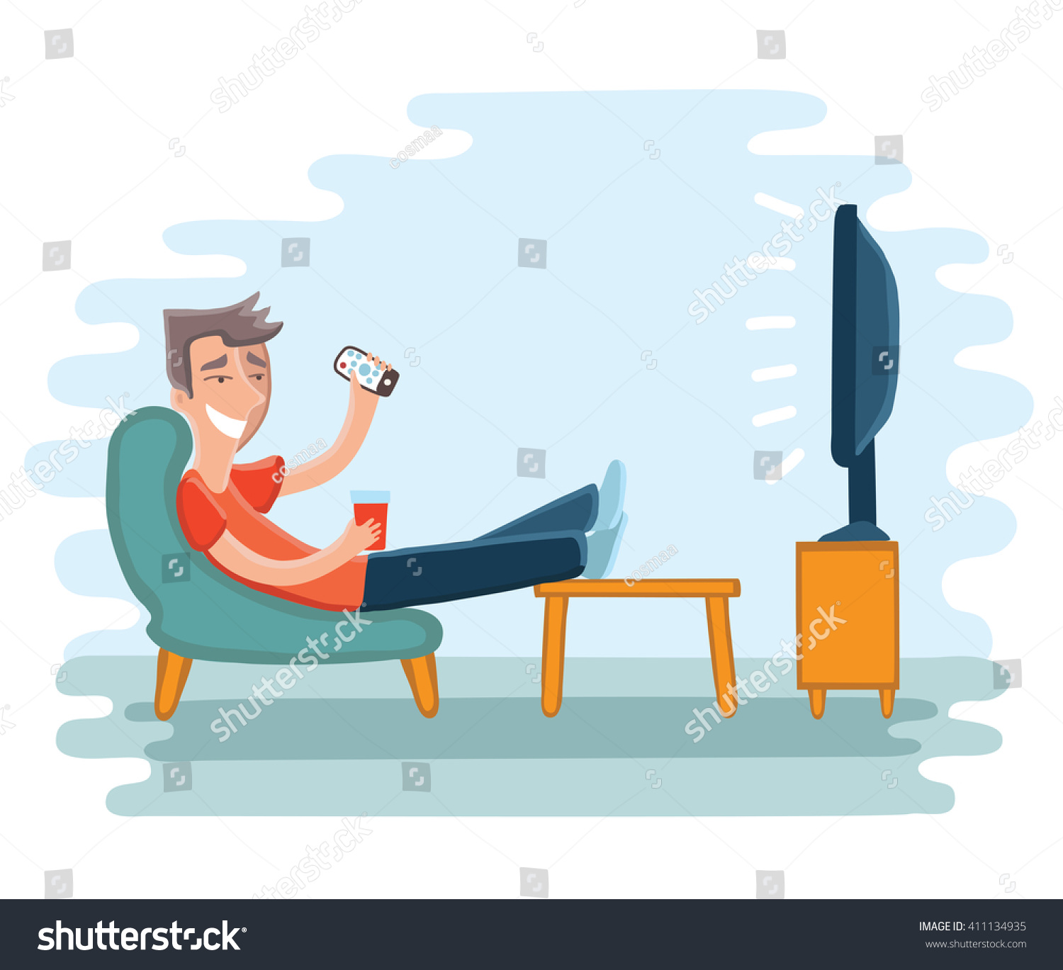 vector illustration man watching television on stock vector 411134935 shutterstock. Black Bedroom Furniture Sets. Home Design Ideas