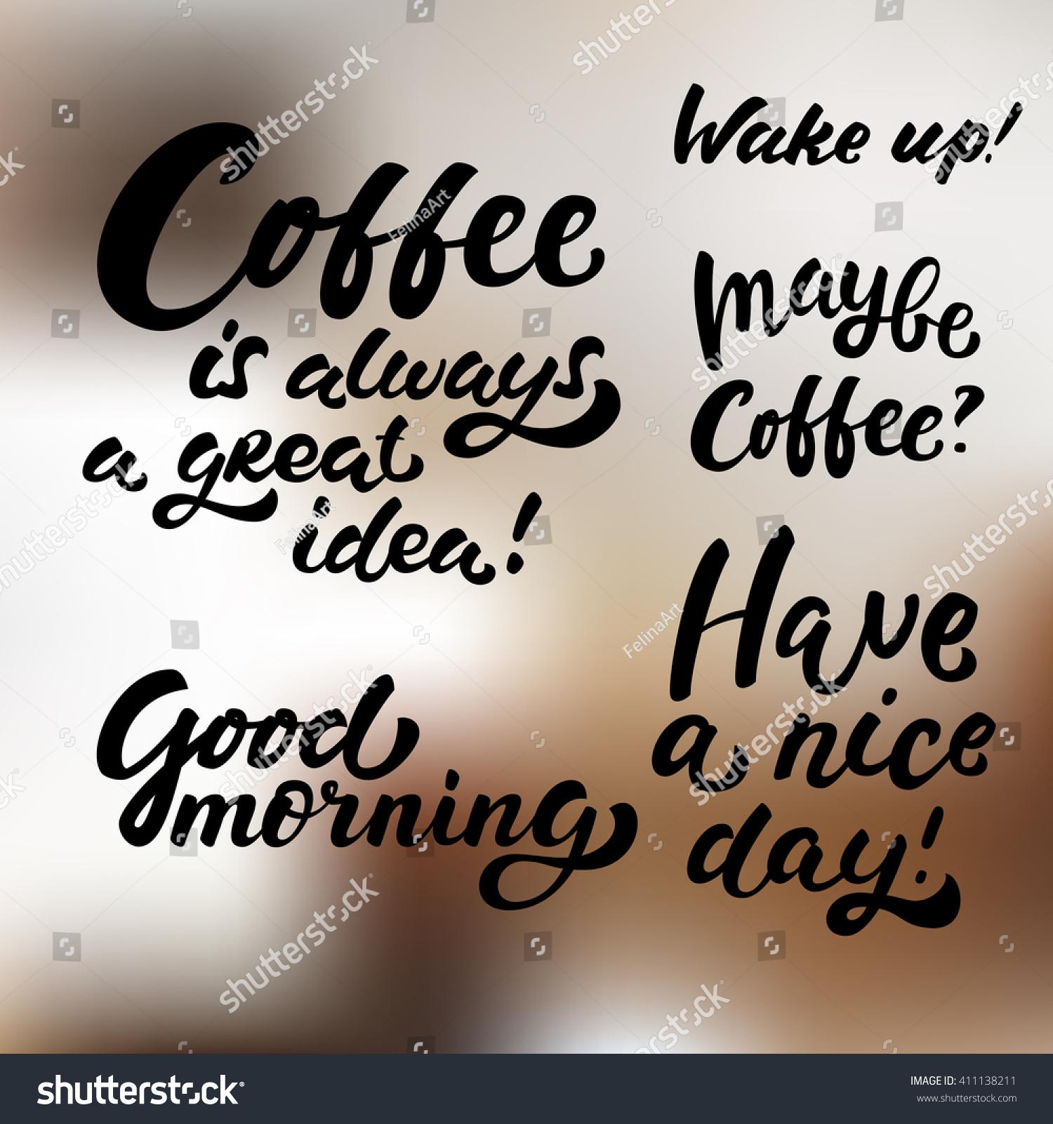 Set Hand Drawn Morning Coffee Brush Stock Vector Royalty Free