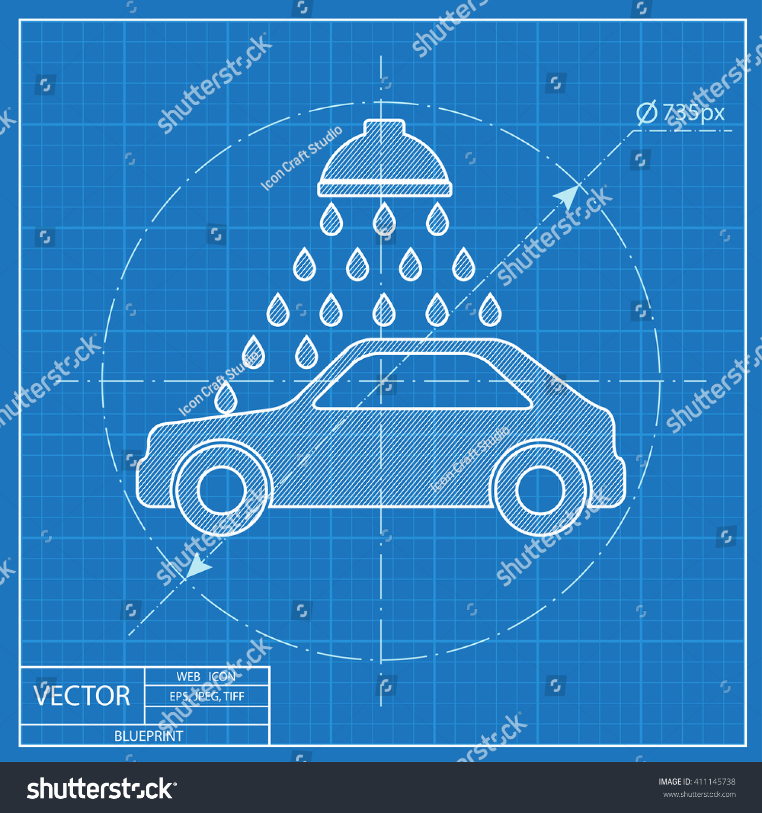 Vector icon car wash blueprint style stock vector 411145738 vector icon of car wash blueprint style malvernweather Gallery