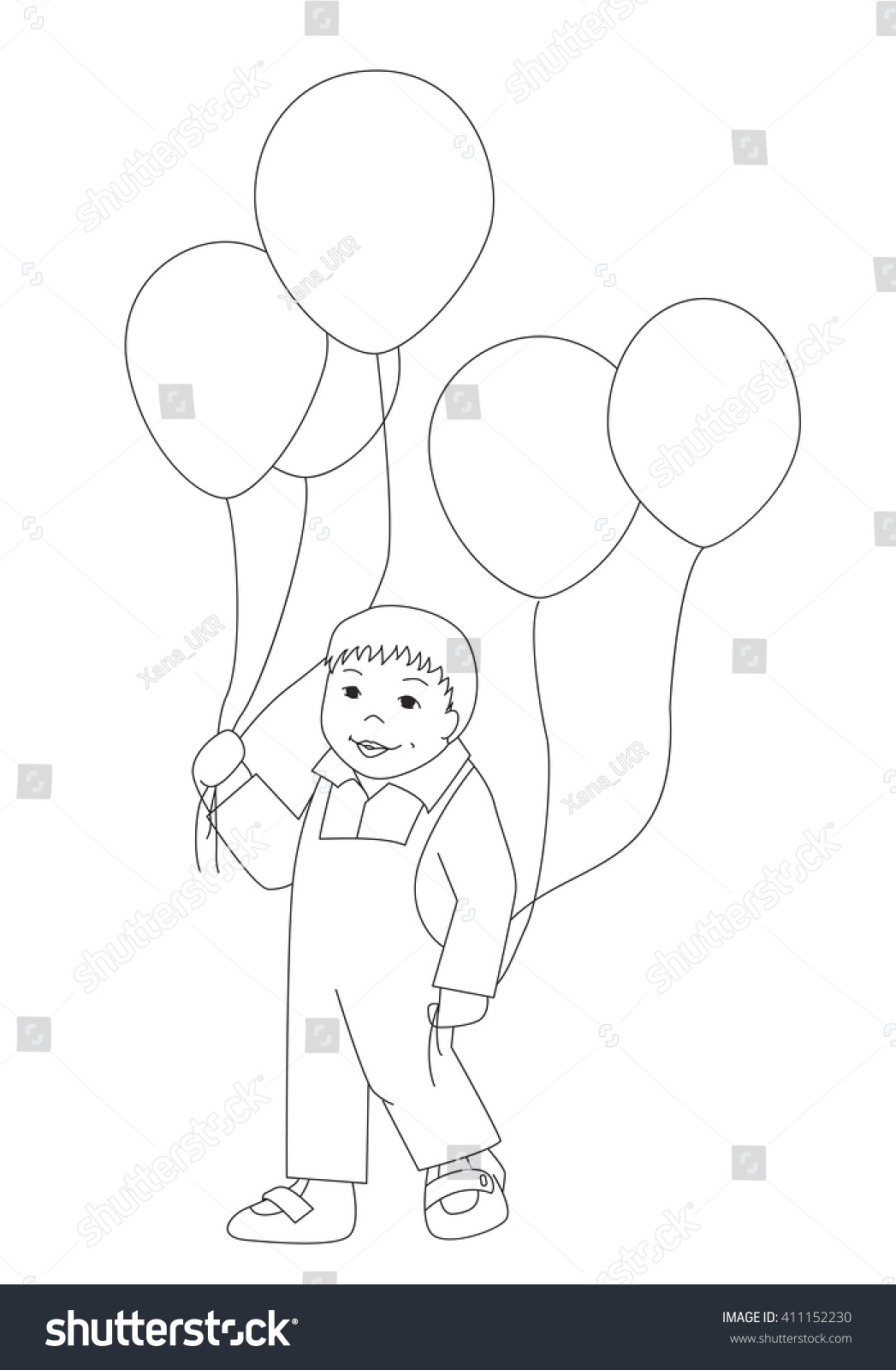 vector coloring page little boy balloons stock vector 411152230