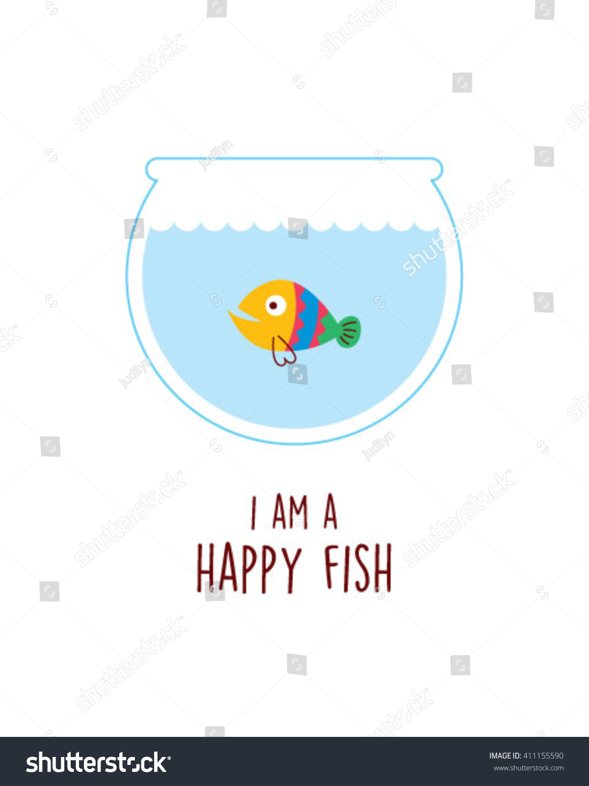 Happy fish vector stock vector 411155590 shutterstock for What kind of fish am i