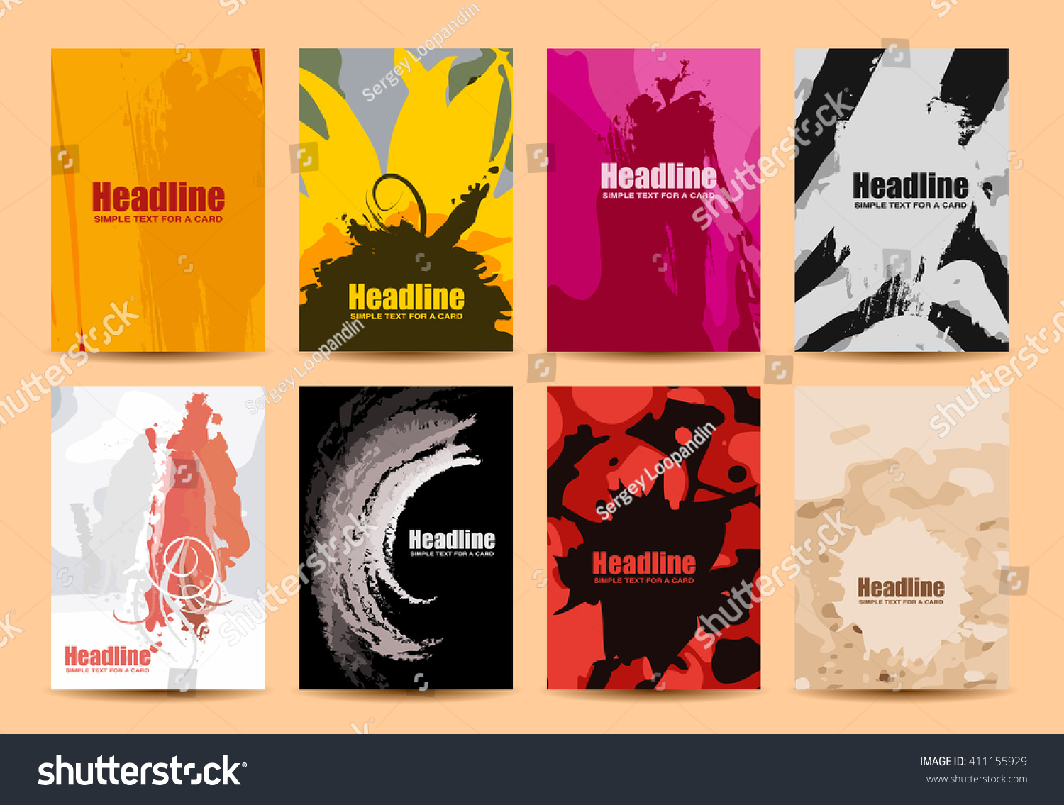 Set Simple Creative Universal Cards Elements Stock Vector (Royalty ...