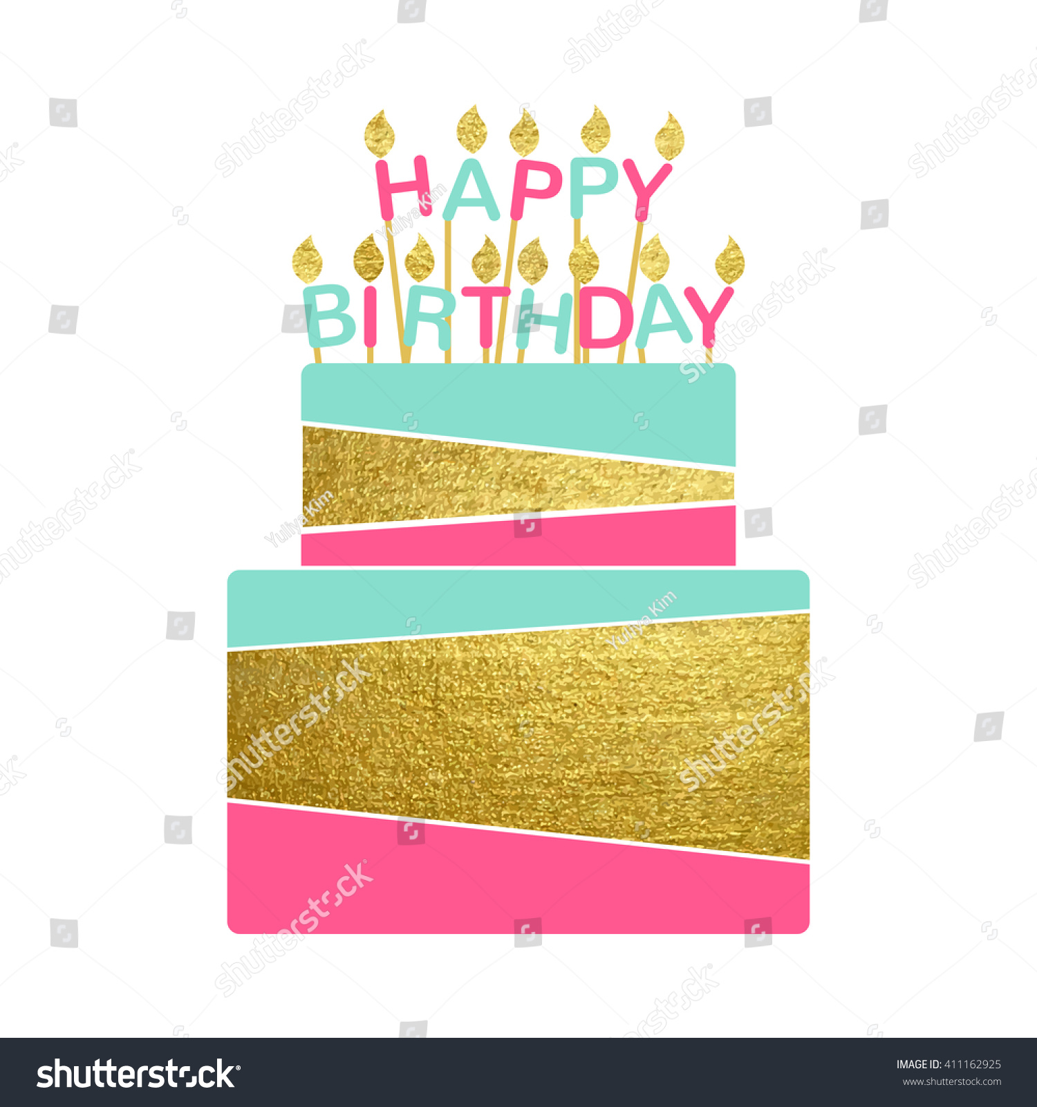 Vector Illustration Of Happy Birthday Cake Card With Candles Gold Paint Foil