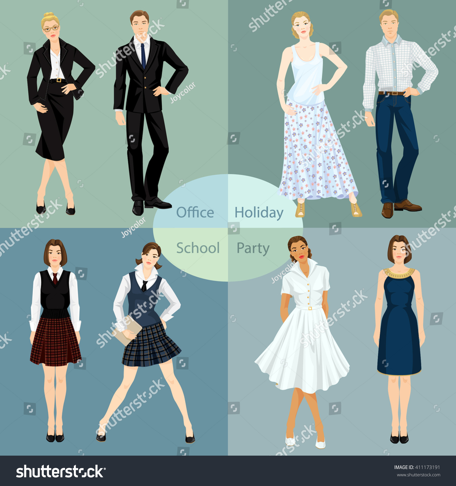Vector Illustration Young People Clothes Office Stock Vector ...