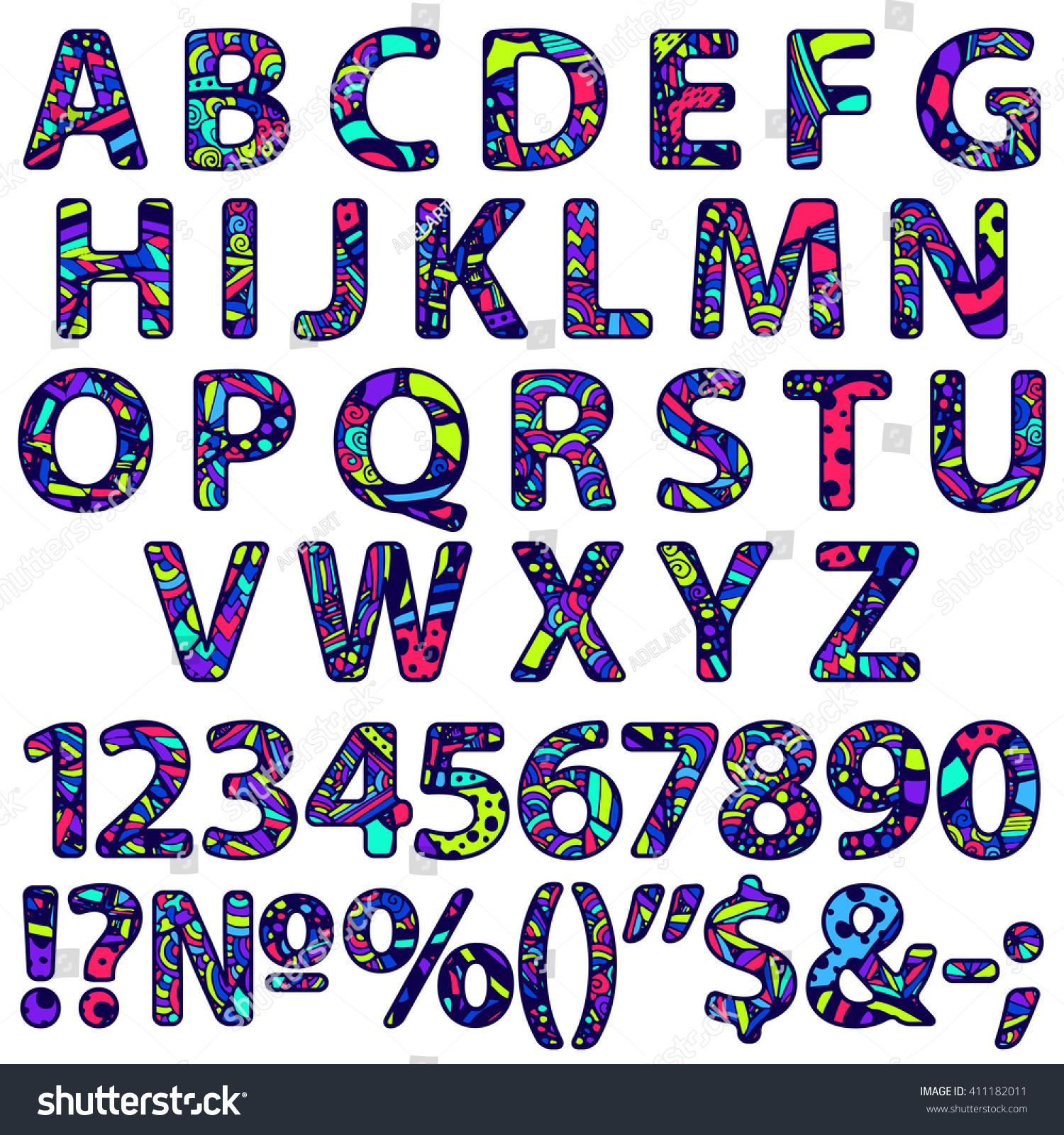 Zentangle Doodle Alphabet Zentangle Letters Numbers Stock Vector HD