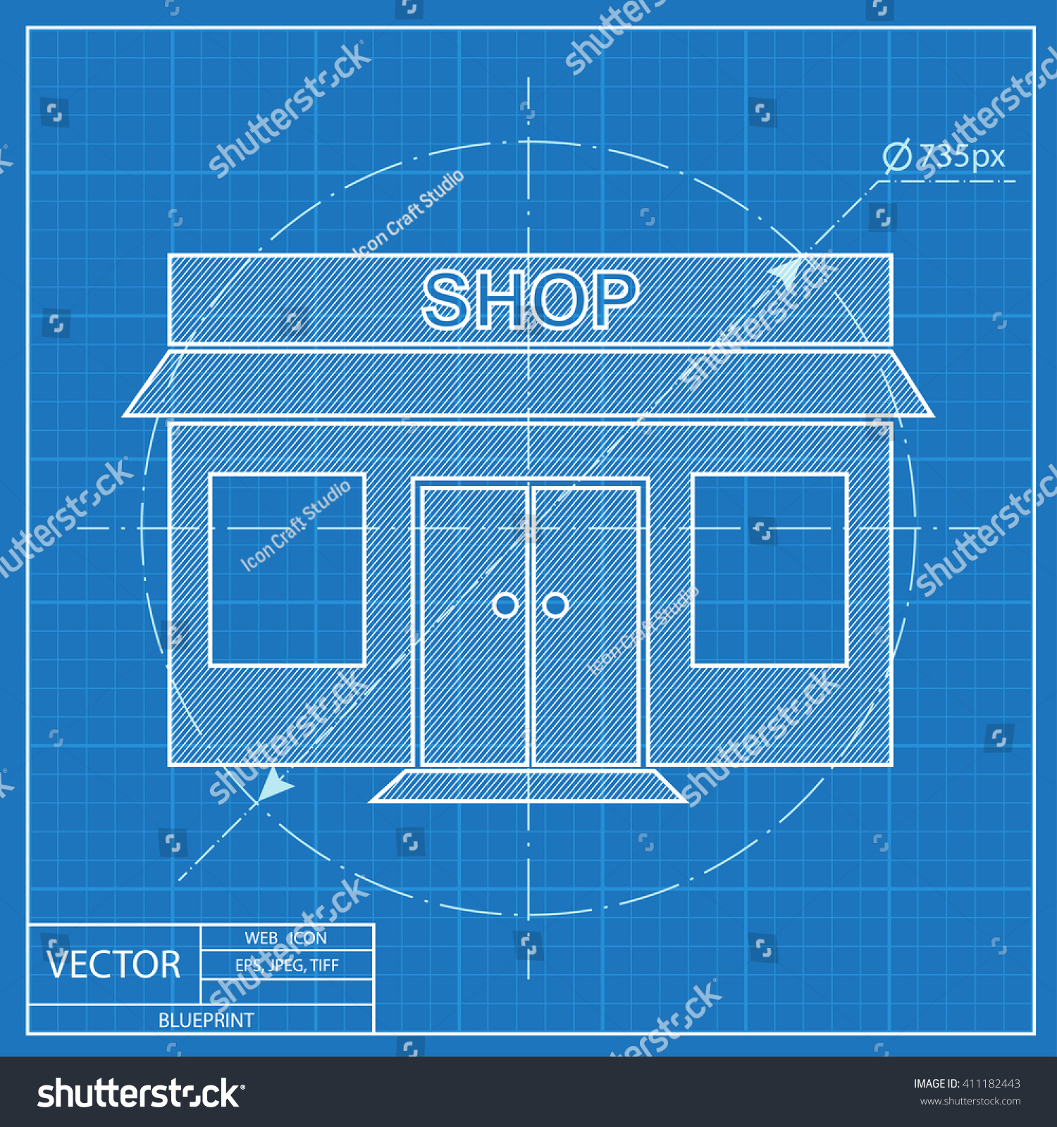 Shop icon blueprint style vectores en stock 411182443 shutterstock shop icon blueprint style malvernweather Images