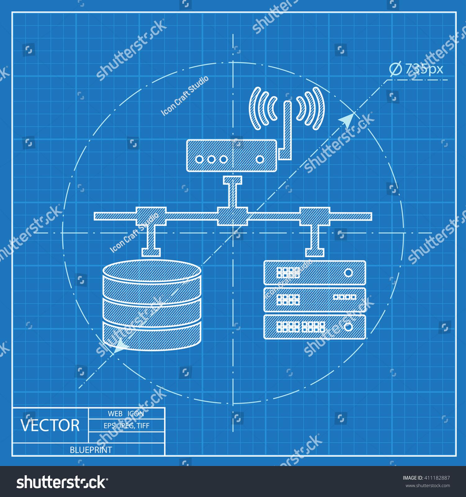 Blueprint Computer Network Database Wifi Server Stock-Vektorgrafik ...