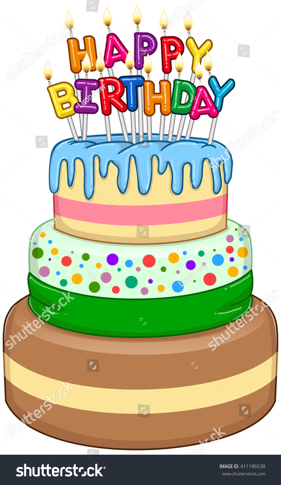 Vector Illustration Of 3 Floors Birthday Cake With Happy Text And Candles On Top
