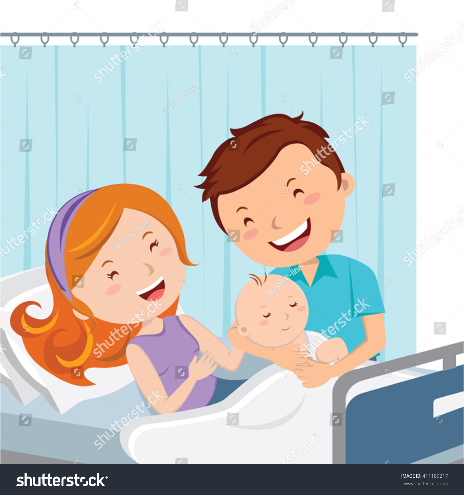 Parents Holding Child In Hospital Room