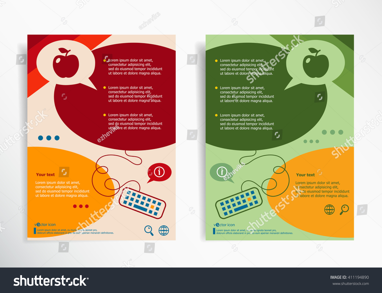 Apple Sign On Abstract Brochure Design Stock Vector Royalty Free