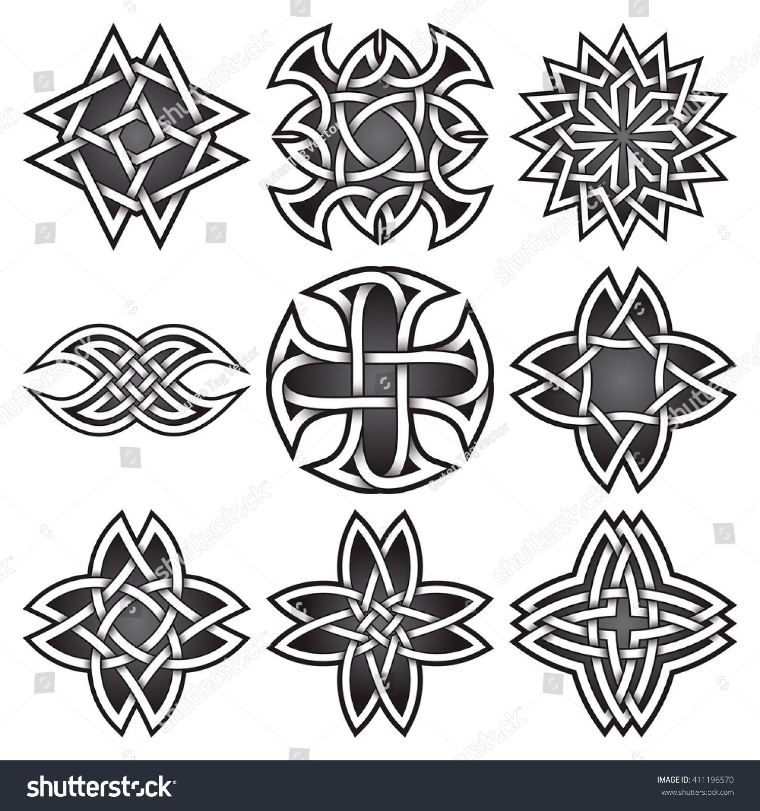 Set Logo Symbols Celtic Knots Style Stock Vector Royalty Free