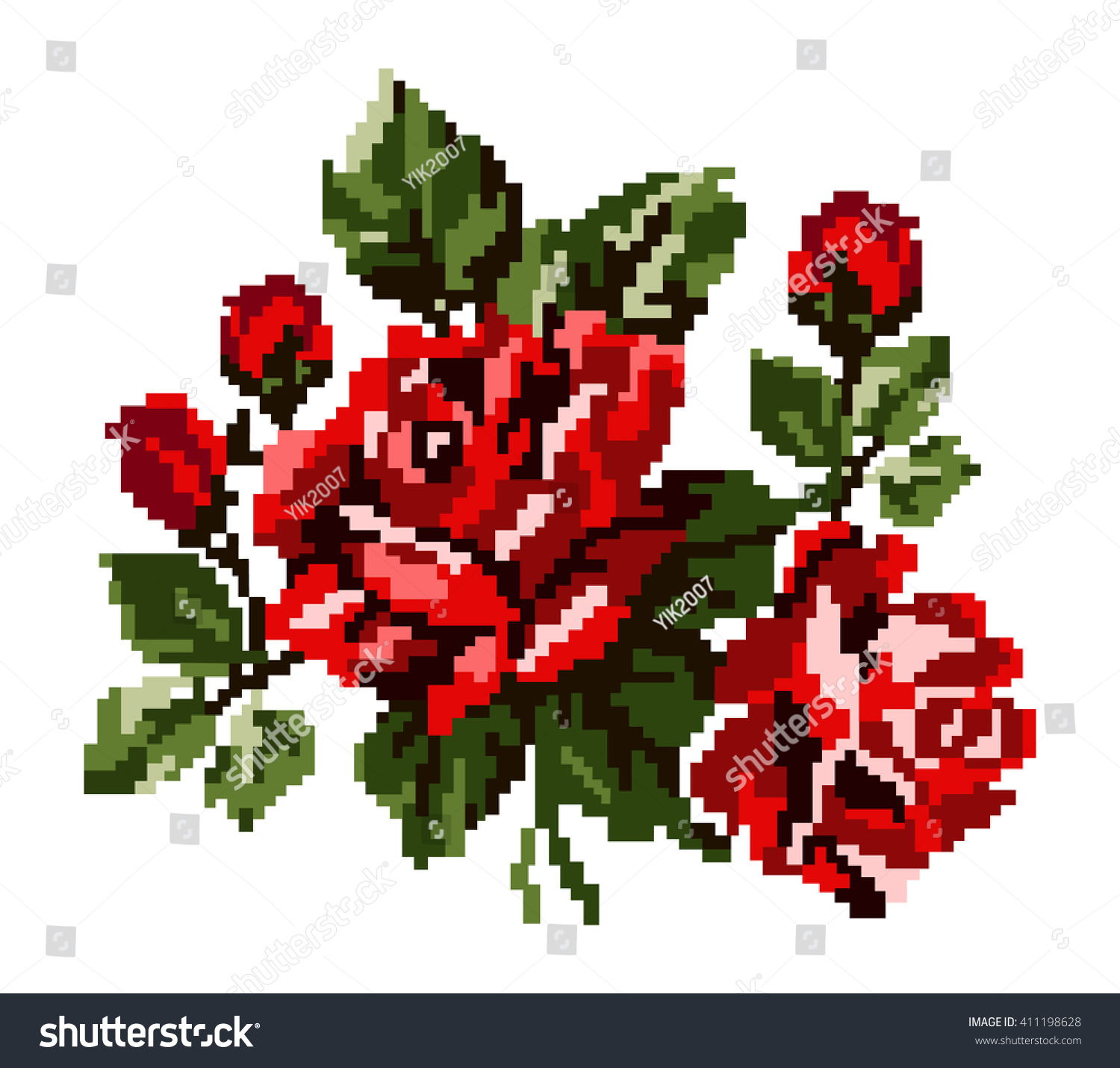 Color Bouquet Flowers Roses Red Green Stock Illustration 411198628 ...
