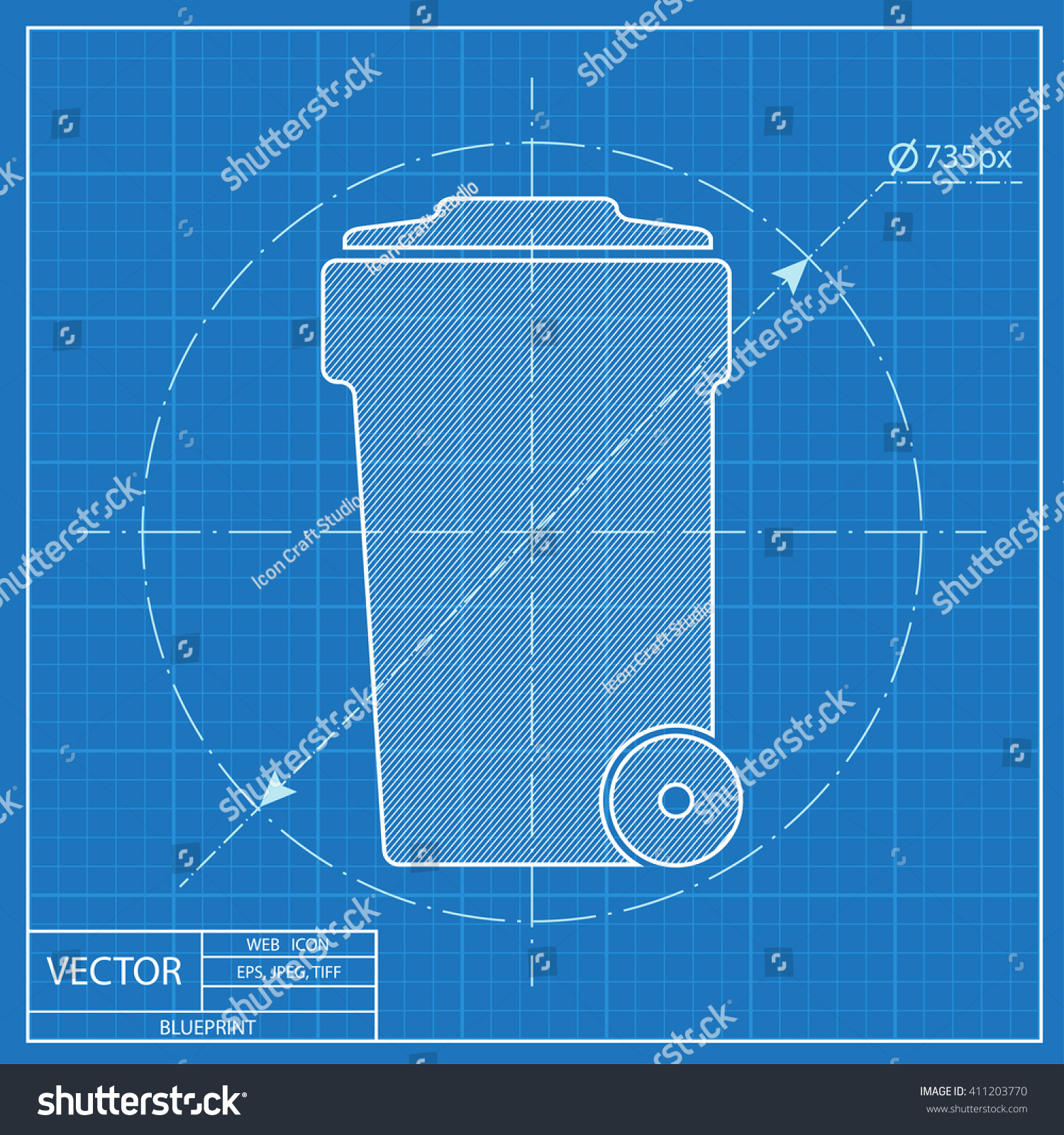 Blueprint icon trash can vectores en stock 411203770 shutterstock blueprint icon of trash can malvernweather Image collections