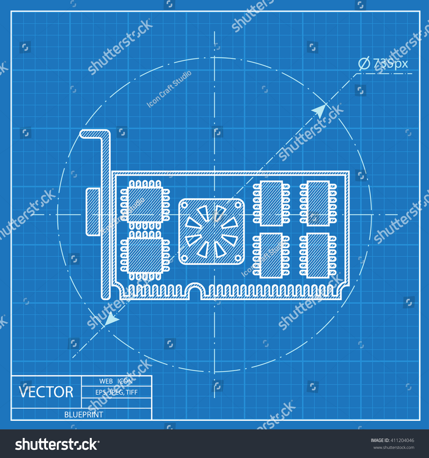 Blueprint Icon Computer Video Card Desktop Stock Vector Royalty Cpu Parts Diagram Of Pictogram Technology Illustration