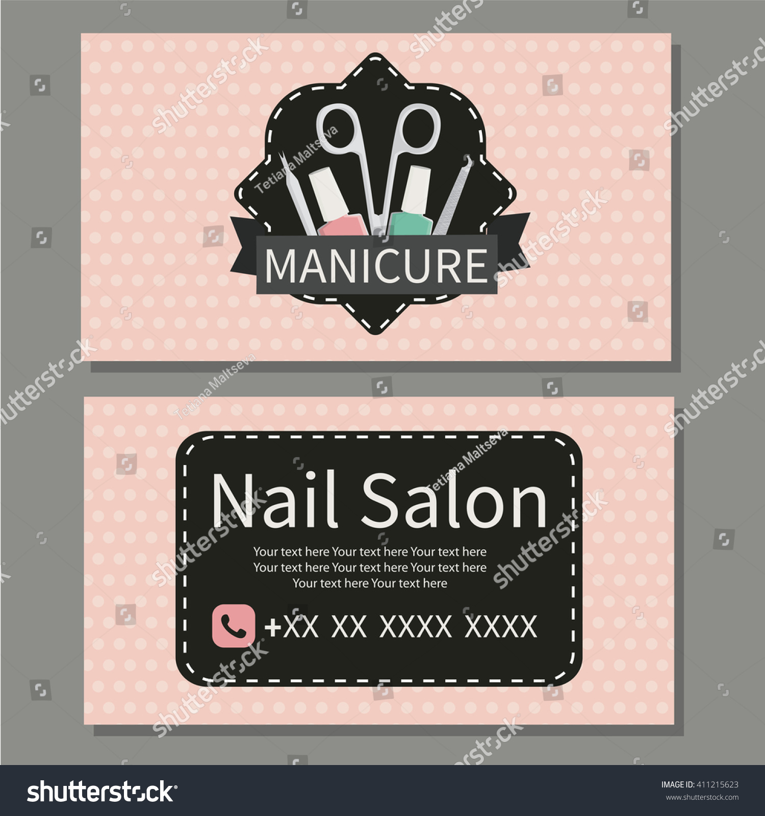 Beauty Manicure Nail Salon Cute Business Stock Vector