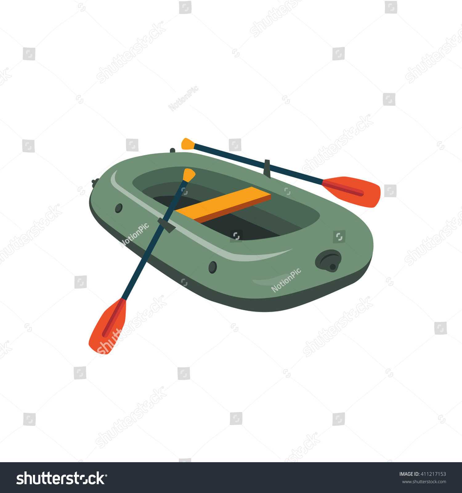 inflatable boat peddles cartoon simple style stock vector
