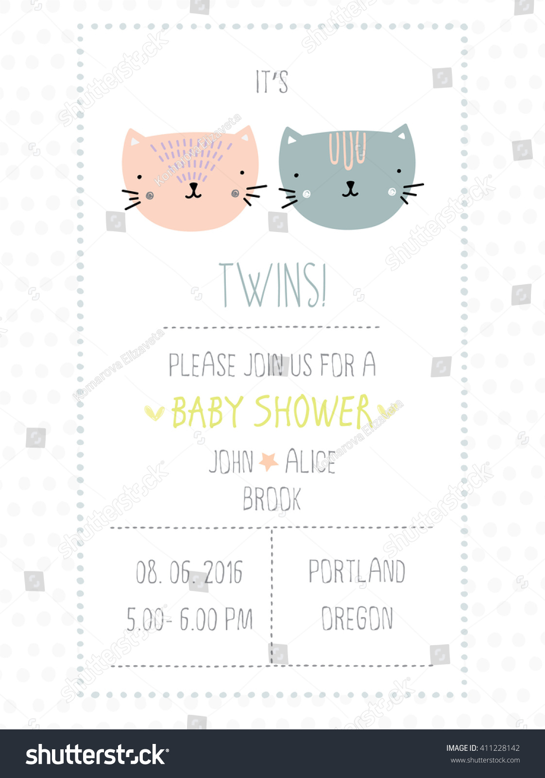 Baby Shower Invitation Twins Stock Vector 411228142 - Shutterstock