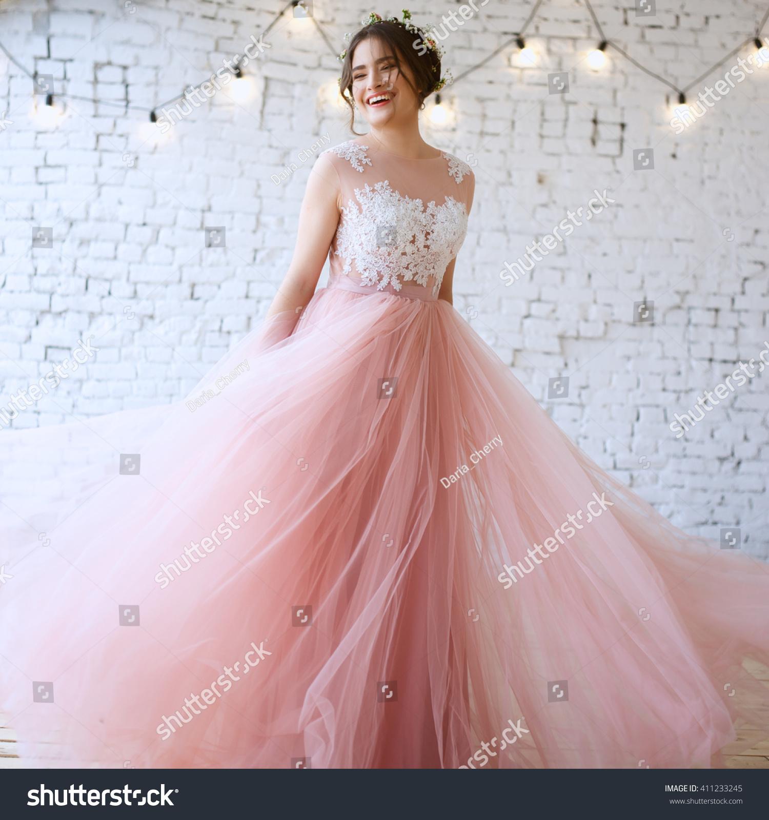 Bride Tender Light Pink Wedding Dress Stock Photo (Edit Now ...
