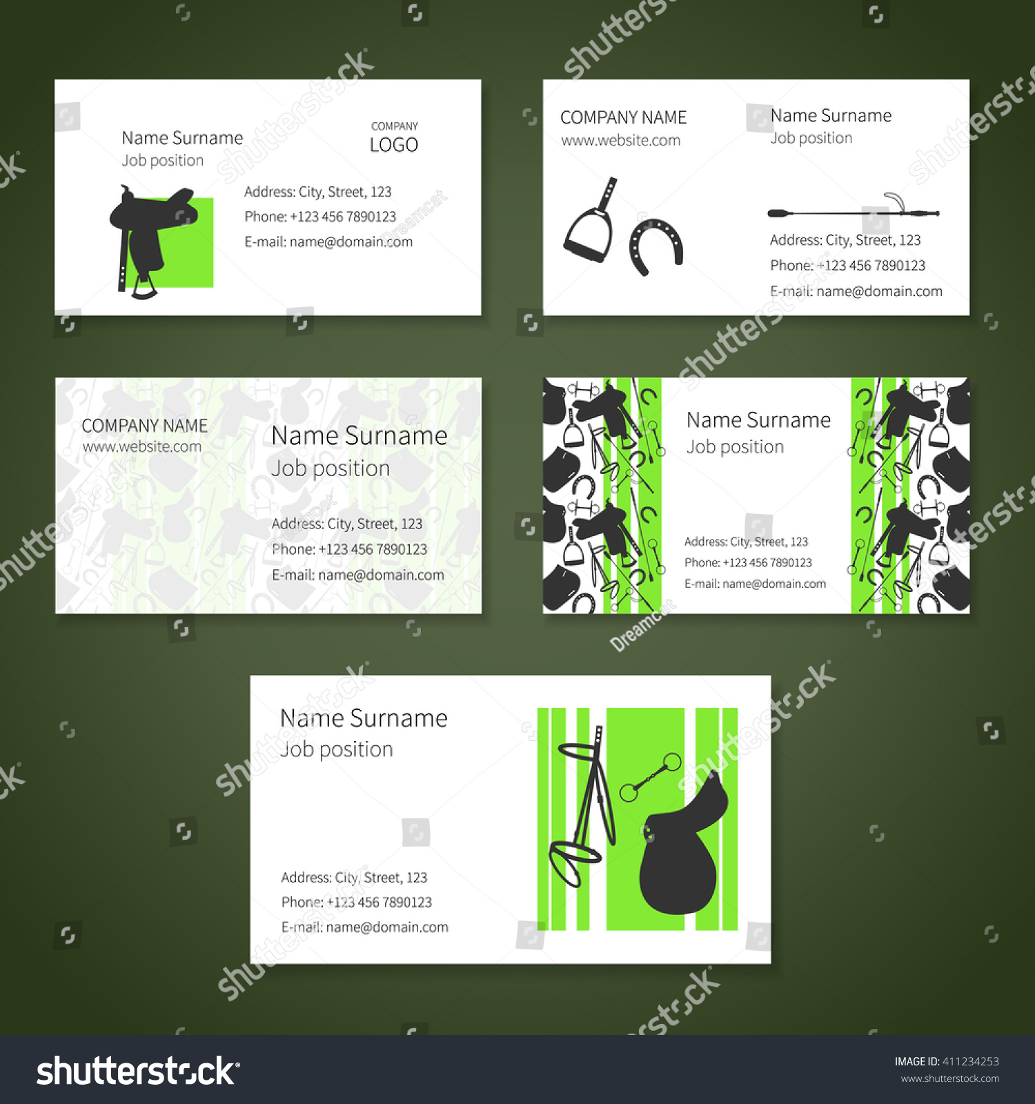 Set white business cards different items stock vector 411234253 set of white business cards with different items for horses and place for your text reheart Choice Image