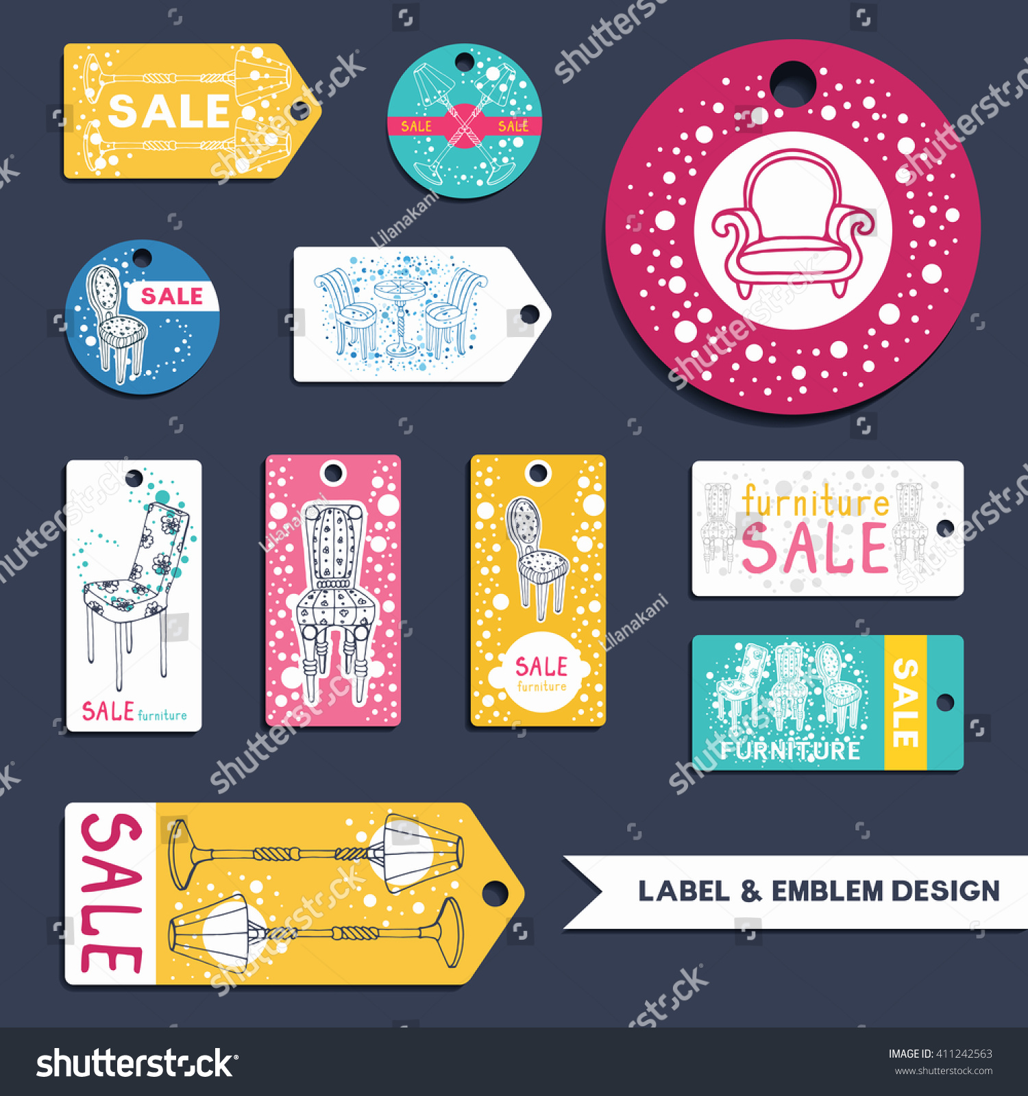 furniture labels emblems set collection vector stock vector collection of vector furniture templates for flyer price