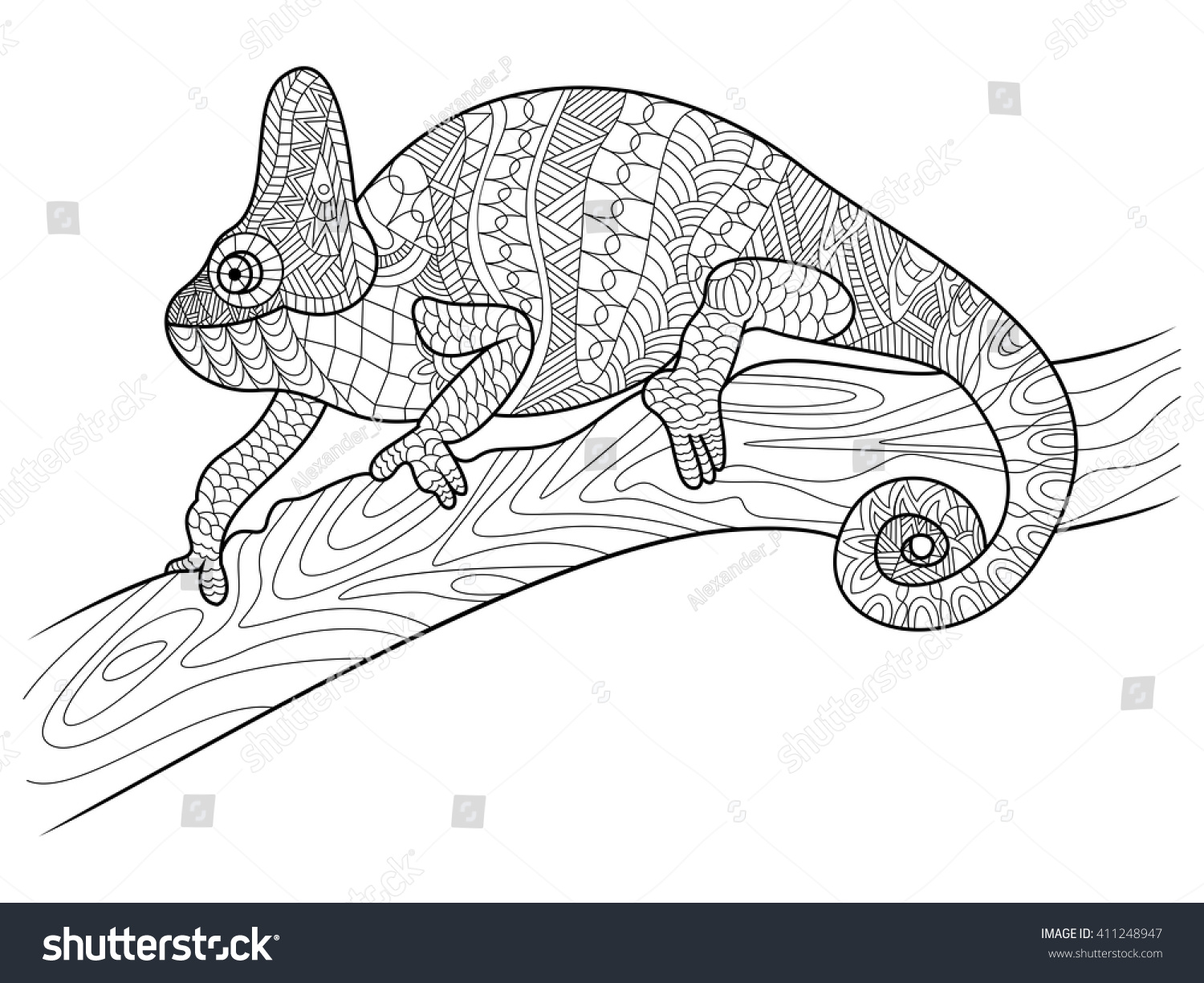 Chameleon Animal Coloring Book For Adults Vector Illustration Zentangle Style Black And White Lines