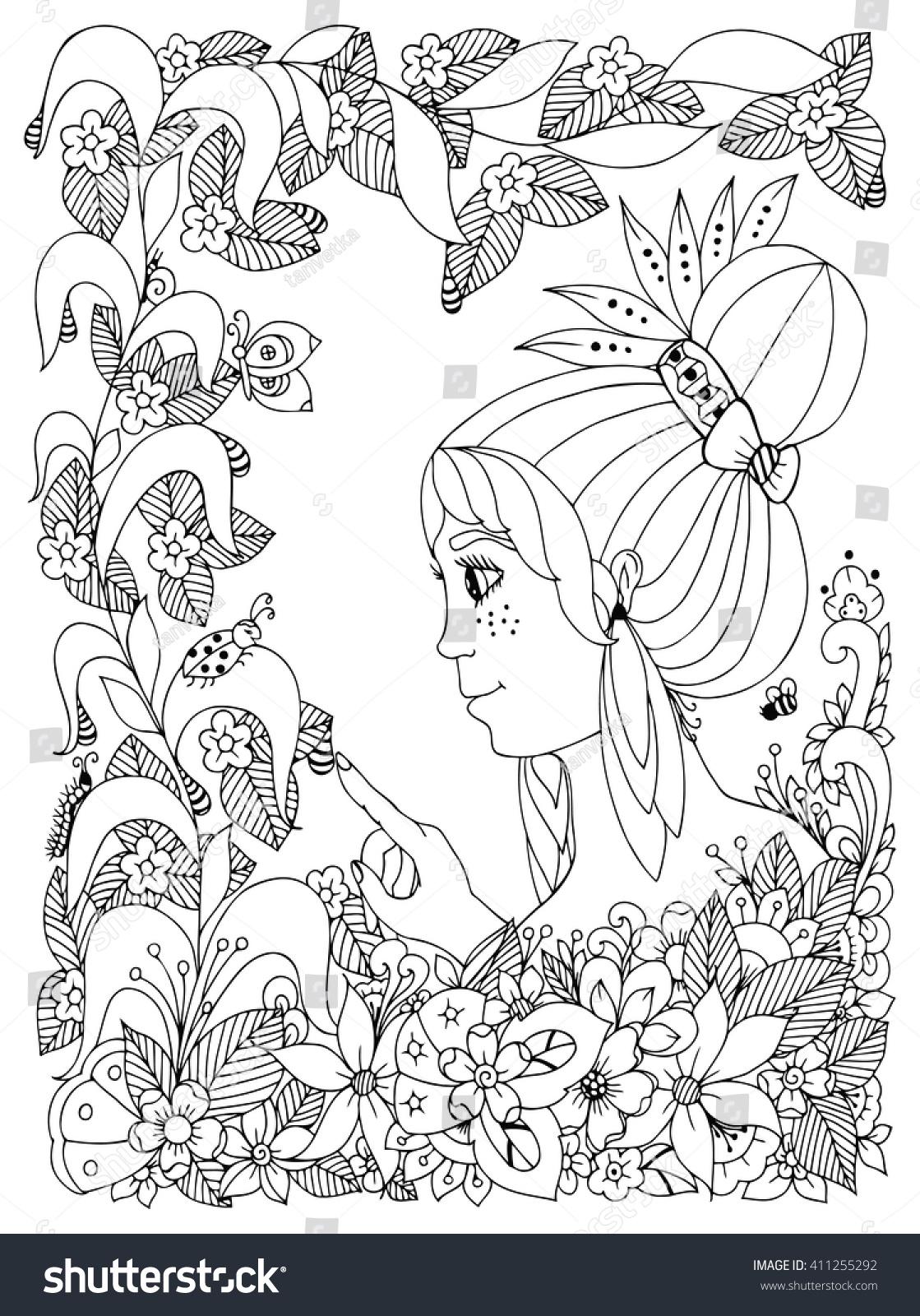 Zen coloring books for children - Vector Illustration Zen Tangl Girl Child With Freckles Looks At Ladybug In A Flower Doodle