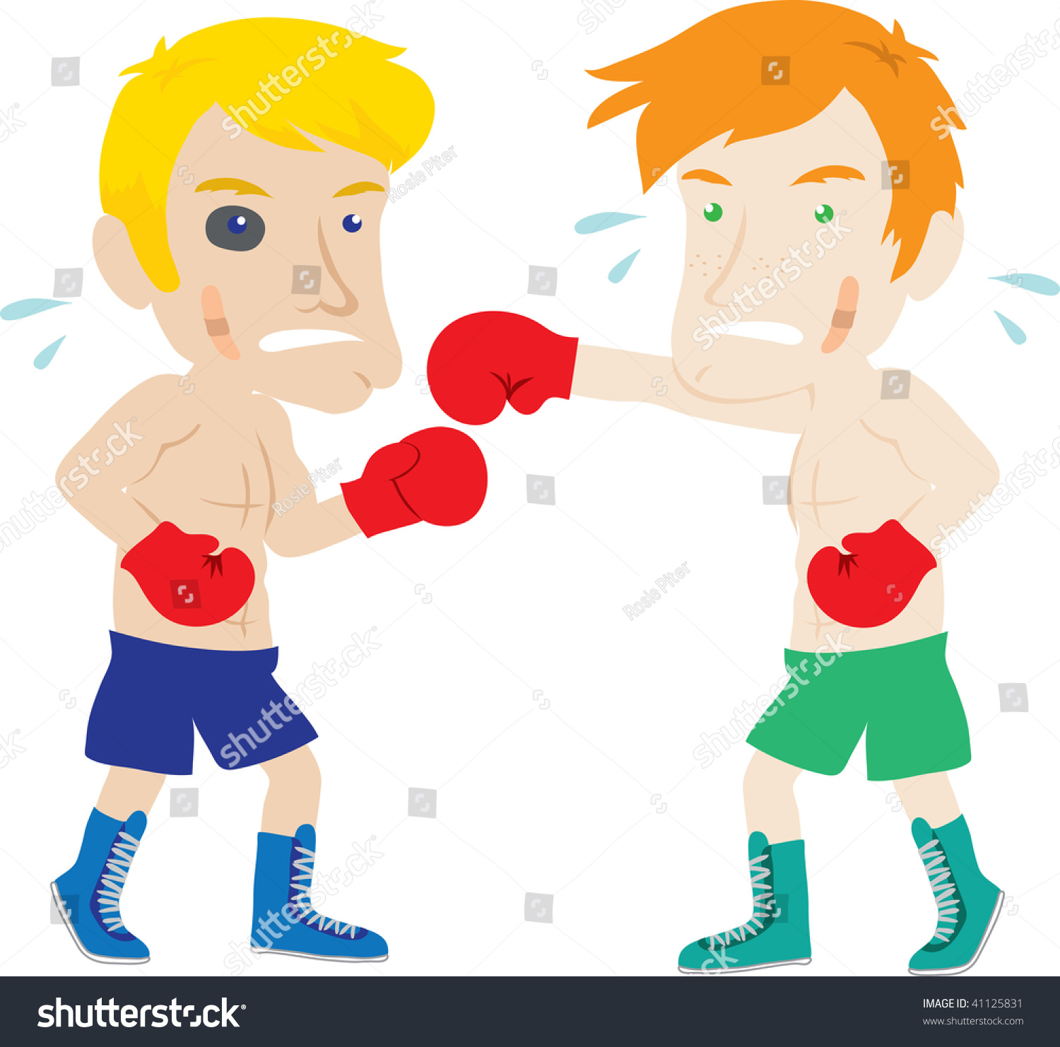 Clip Art Illustration Two Men Boxing Stockillustration 41125831