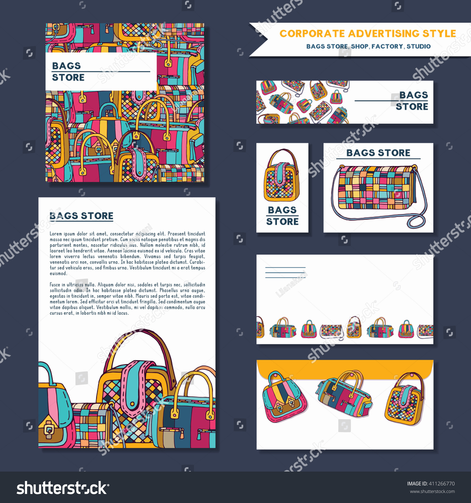 Corporate Advertising Brand Style Fashion Bags Stock Vector Royalty
