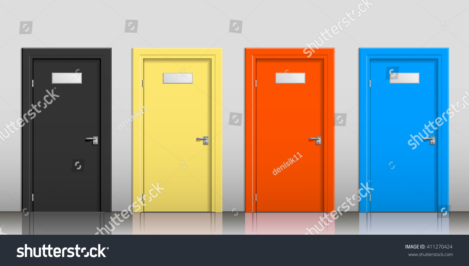 Doors Different Colors Signs On Gray Stock Vector 411270424 ...
