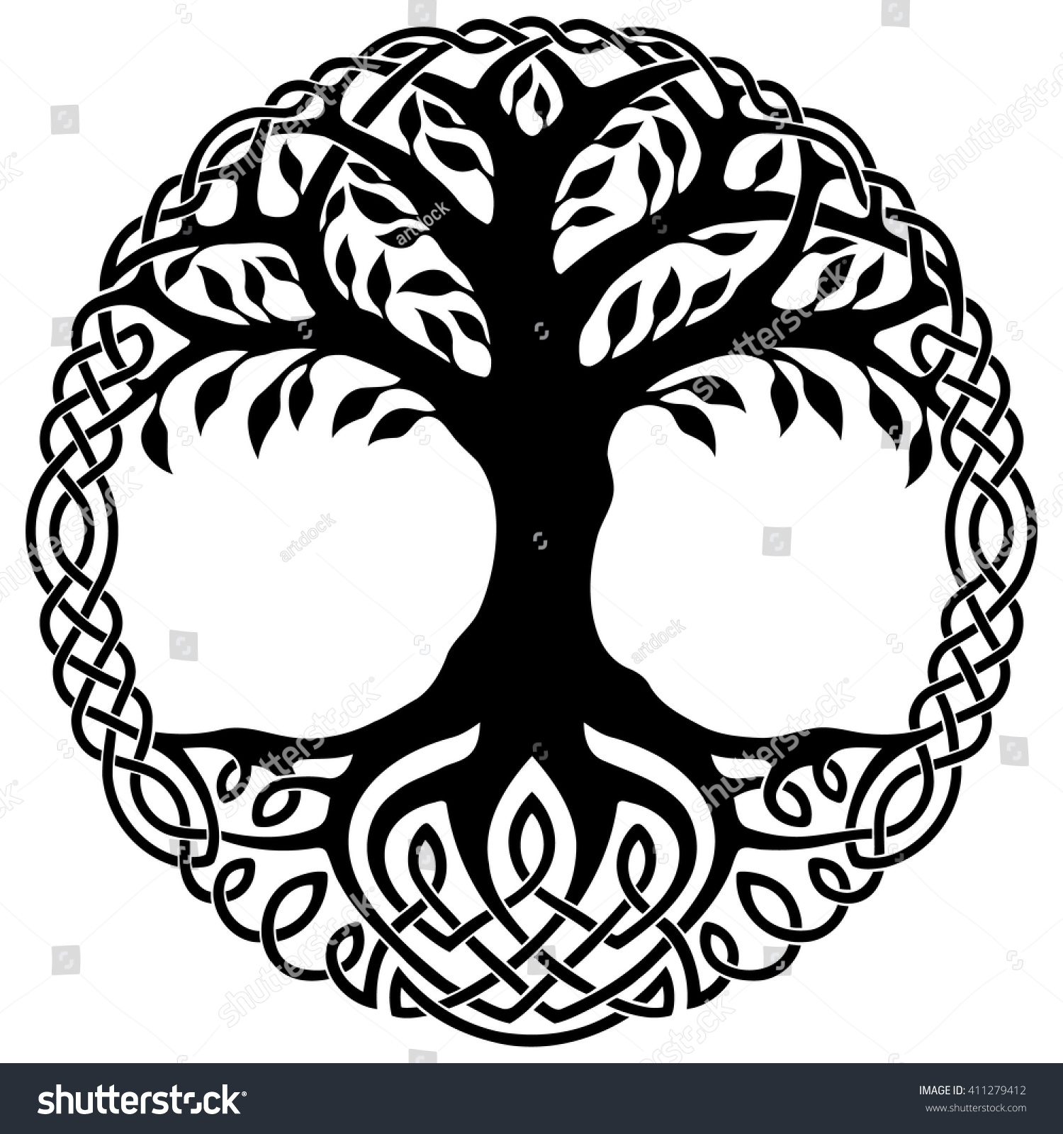 Tree Of Life Invitation Rsvp Celtic Life By: Vector Ornament Decorative Celtic Tree Life Stock Vector