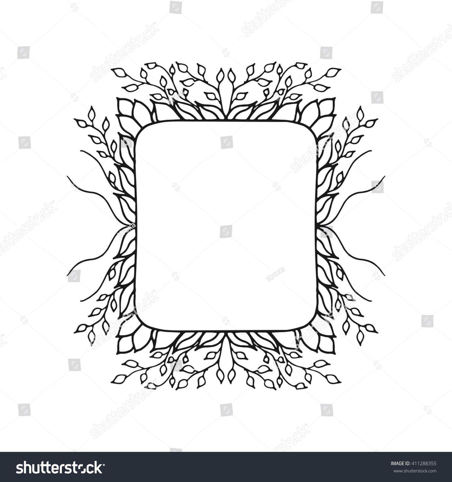 floral vector frame black white vintage stock vector royalty free