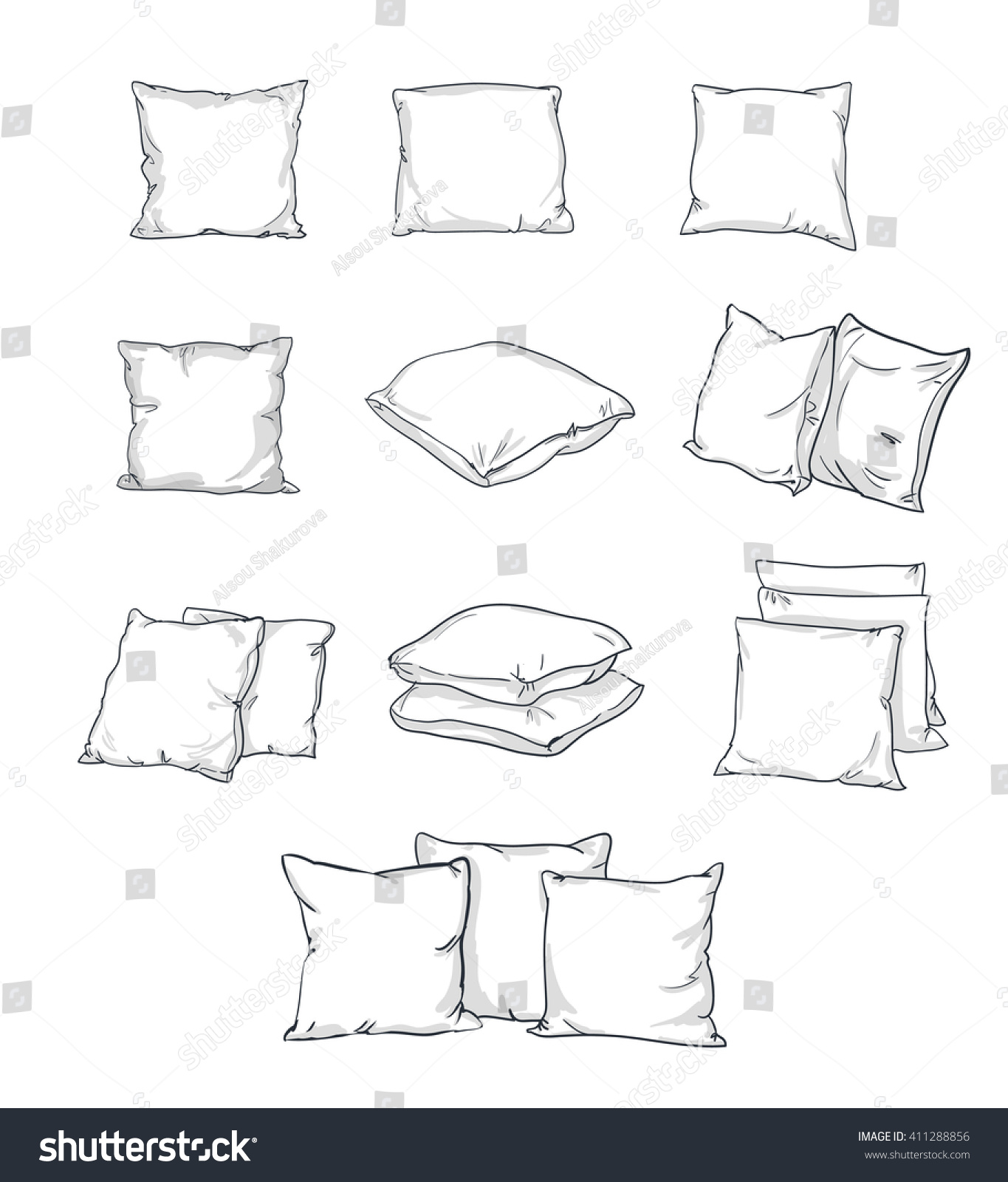 Sketch Vector Illustration Pillow Art Pillow Stock Vector ...