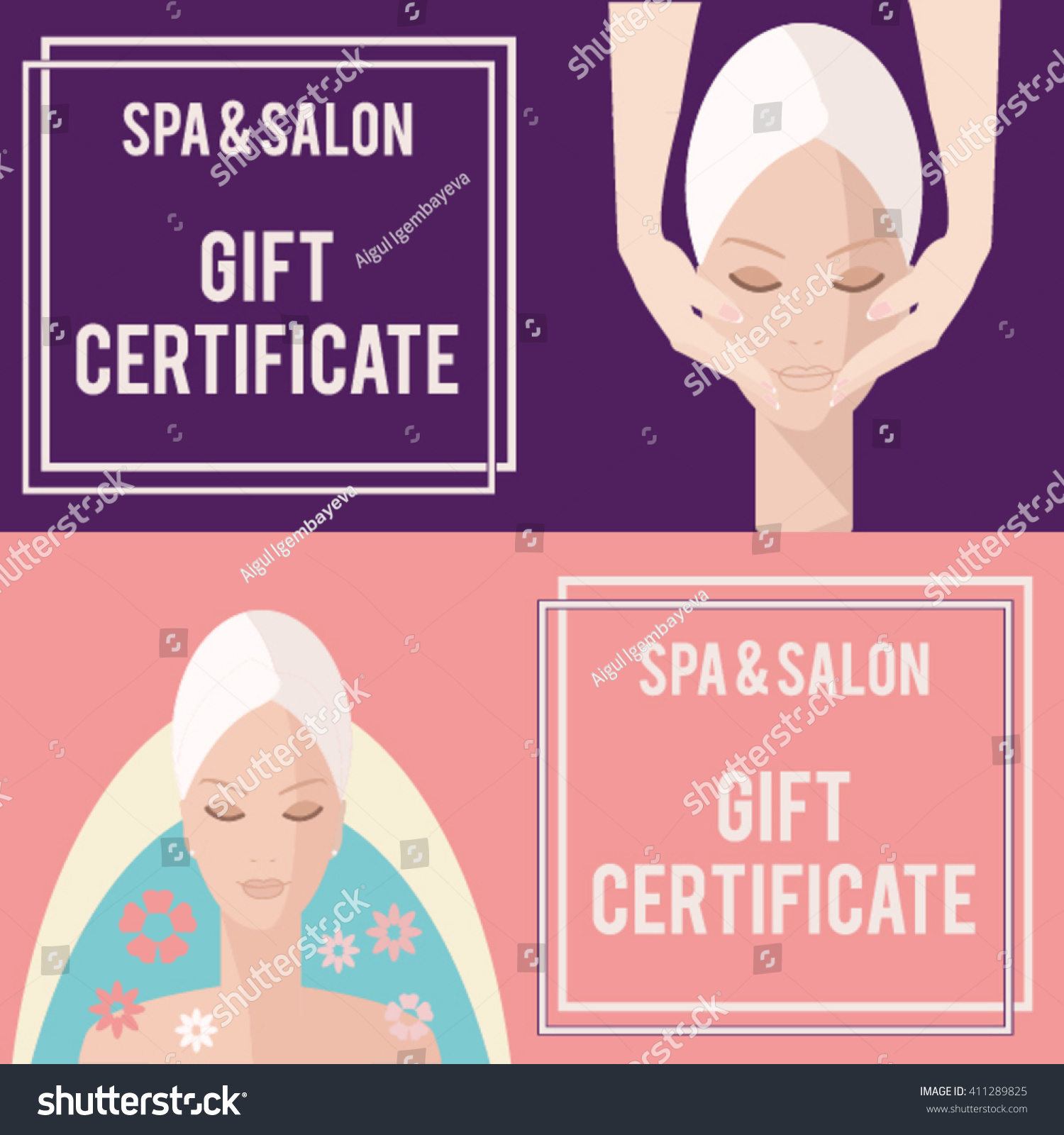 Spa salon gift certificate gift certificate stock vector 411289825 spa salon gift certificate gift certificate for spa and salonface massage banner xflitez Images