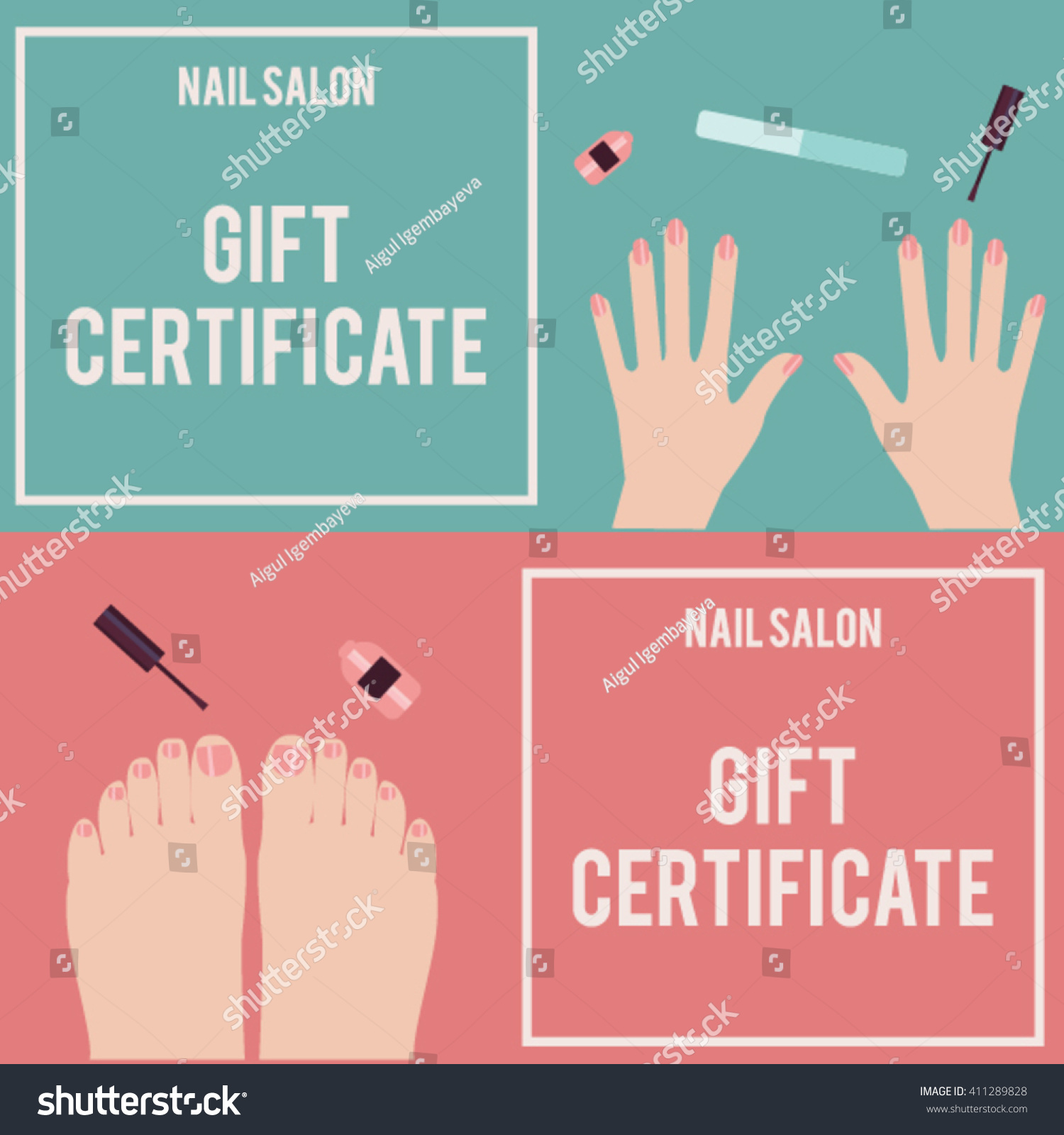 Nail Salon Gift Certificate Gift Certificate Stock Vector Royalty