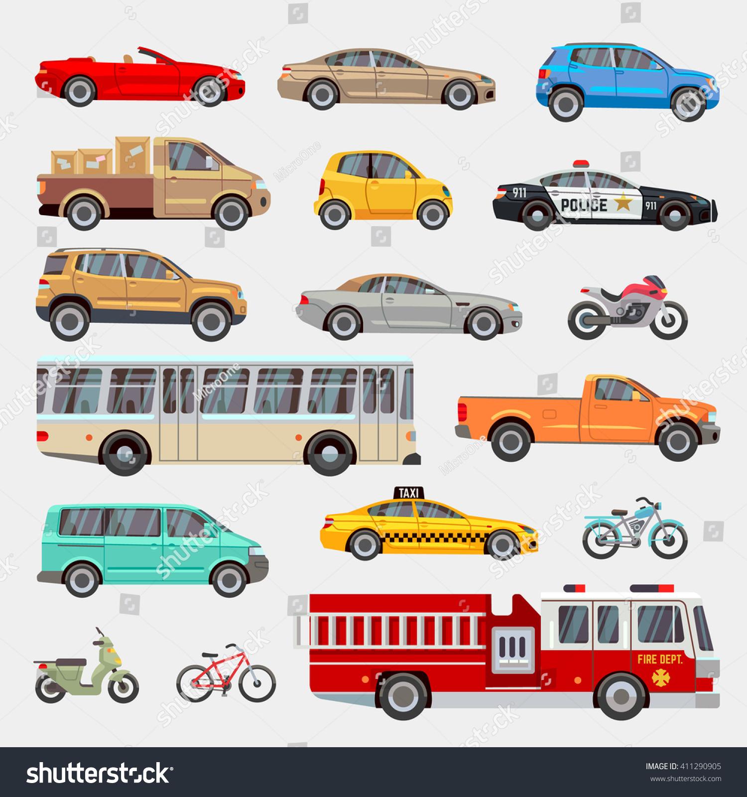 urban city cars and vehicles transport vector flat icons set car vehicle car