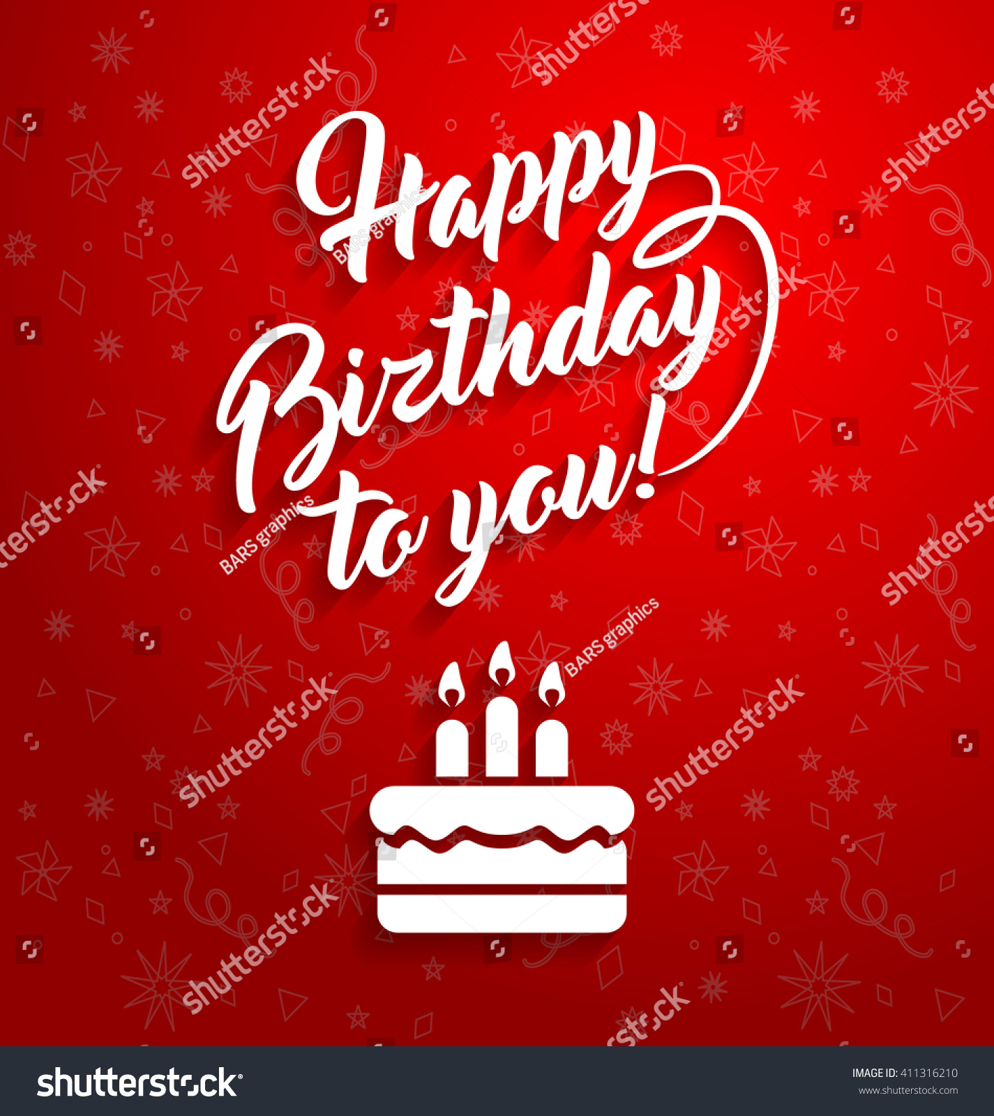 Happy Birthday To You Lettering Text Vector Illustration Greeting Card Design