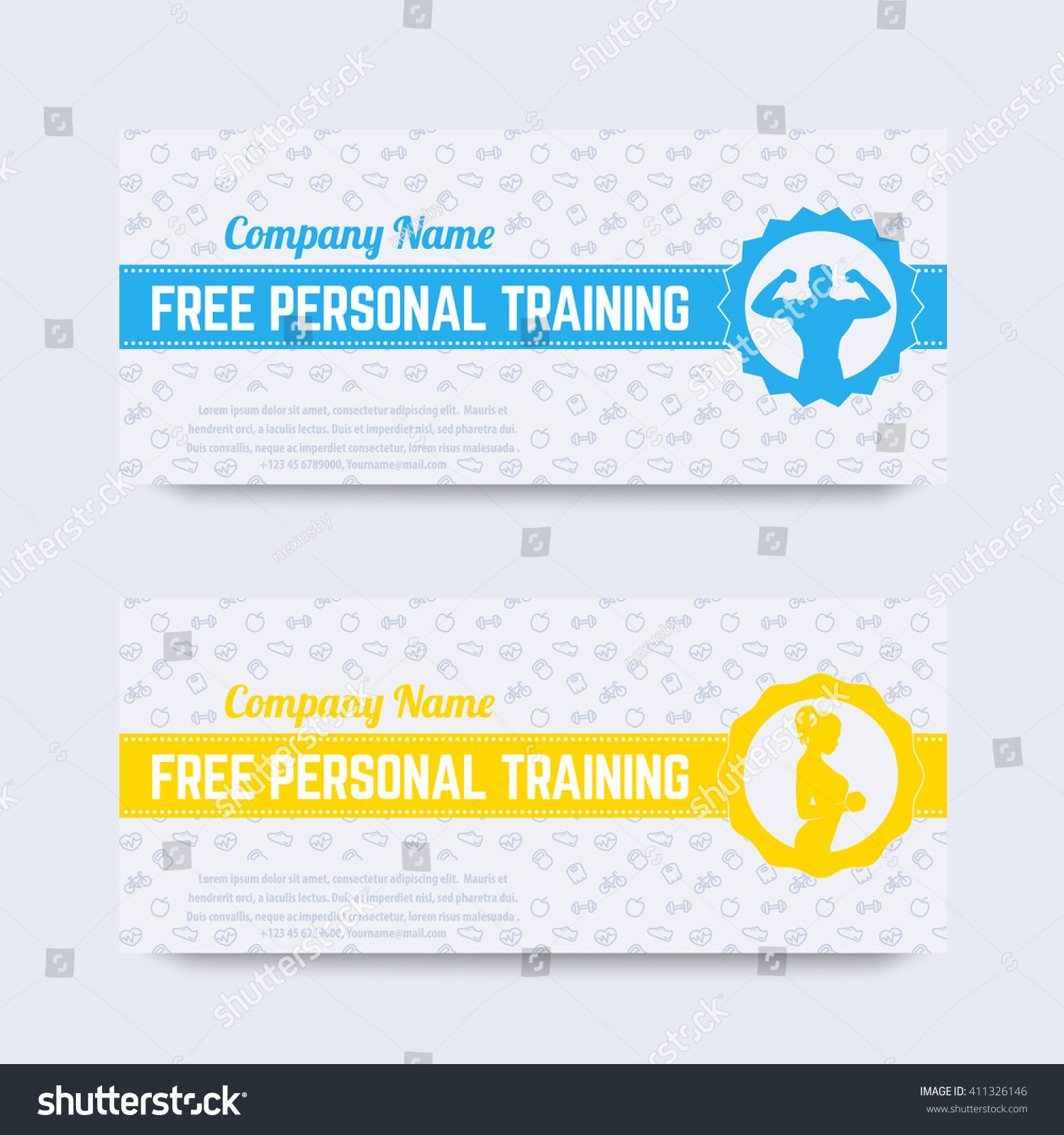 Free Personal Training Gift Voucher Design Stock Vector Royalty