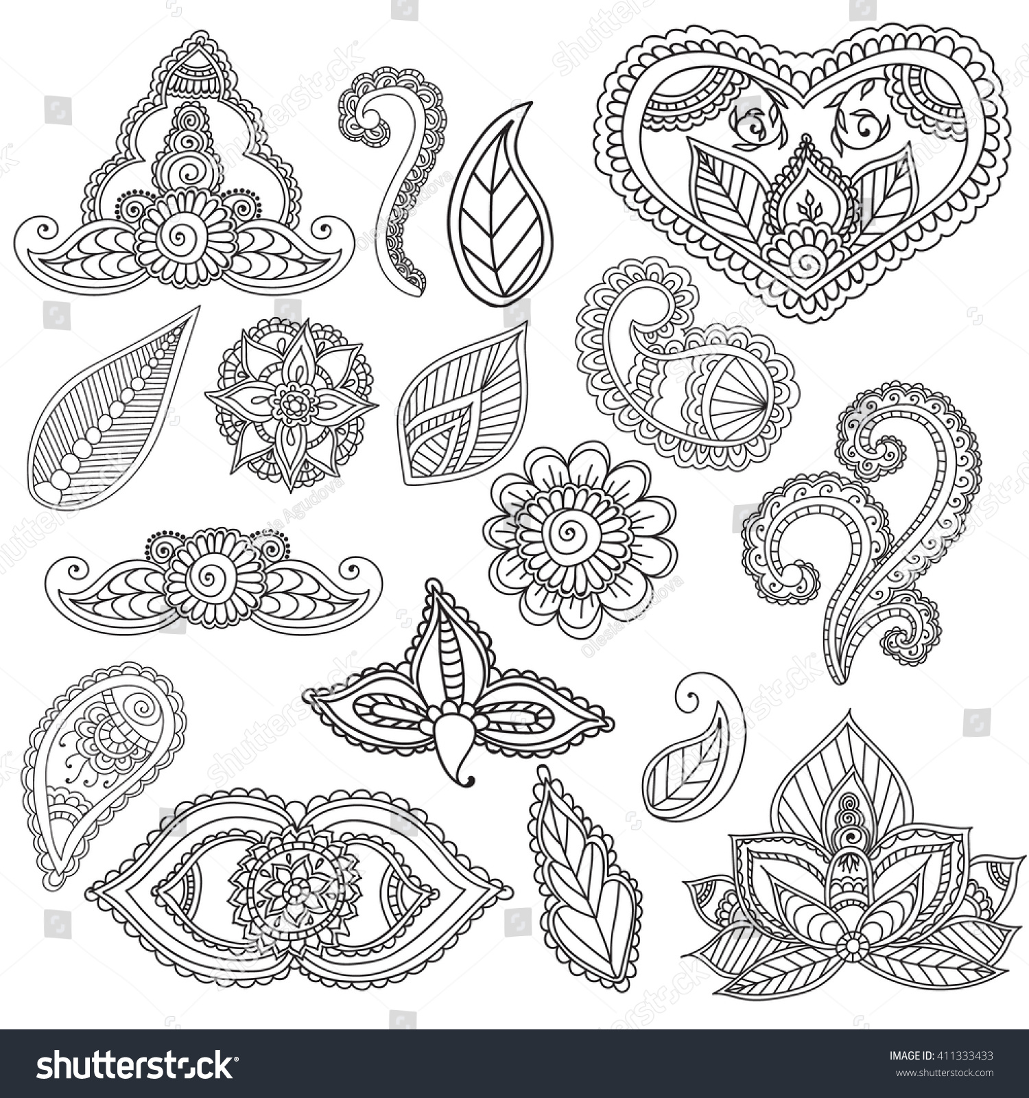 Coloring pages henna - Coloring Pages For Adults Set Fo Henna Mehndi Doodles Abstract Floral Paisley Design Elements