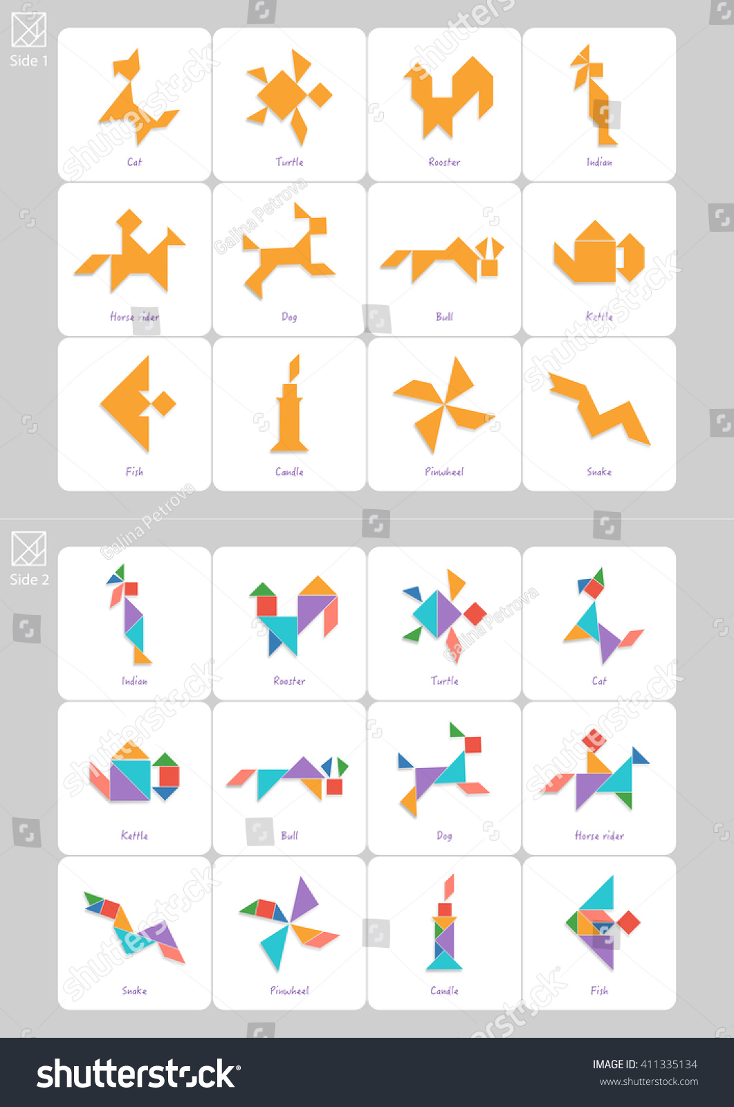 tangram set task solution cards captions のベクター画像素材