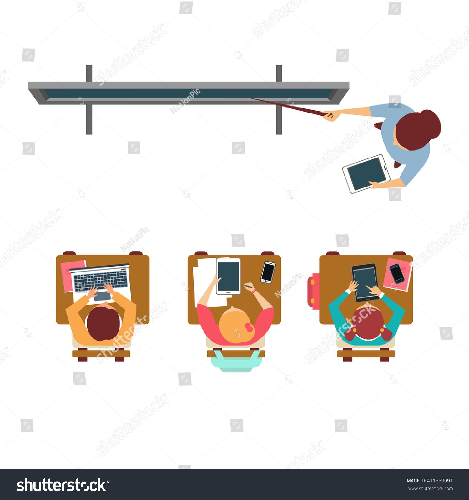 Modern equipped class from above flat primitive style design vector illustration on white background