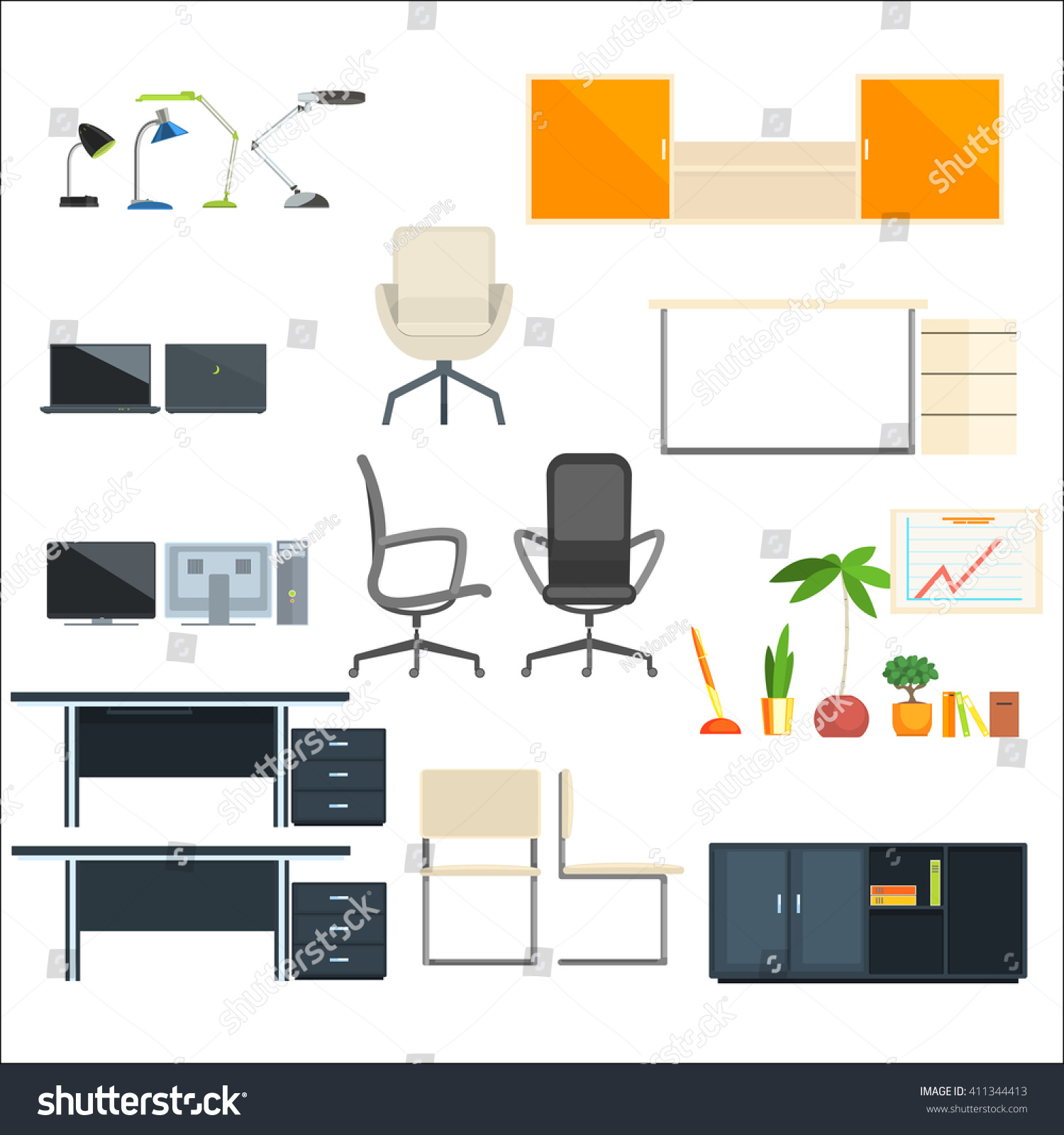 designer office desk isolated objects top view. office furniture and objects flat isolated elements collection in primitive style on white background designer desk top view c