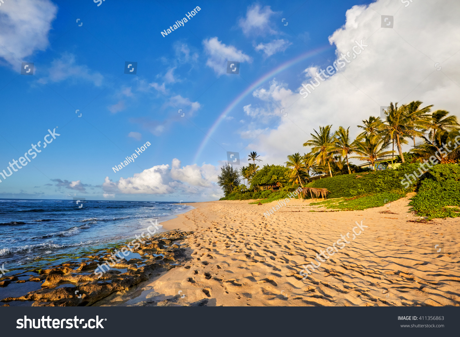 rainbow scenic view over the popular surfing place Sunset Beach North Shore Oahu Hawaii USA