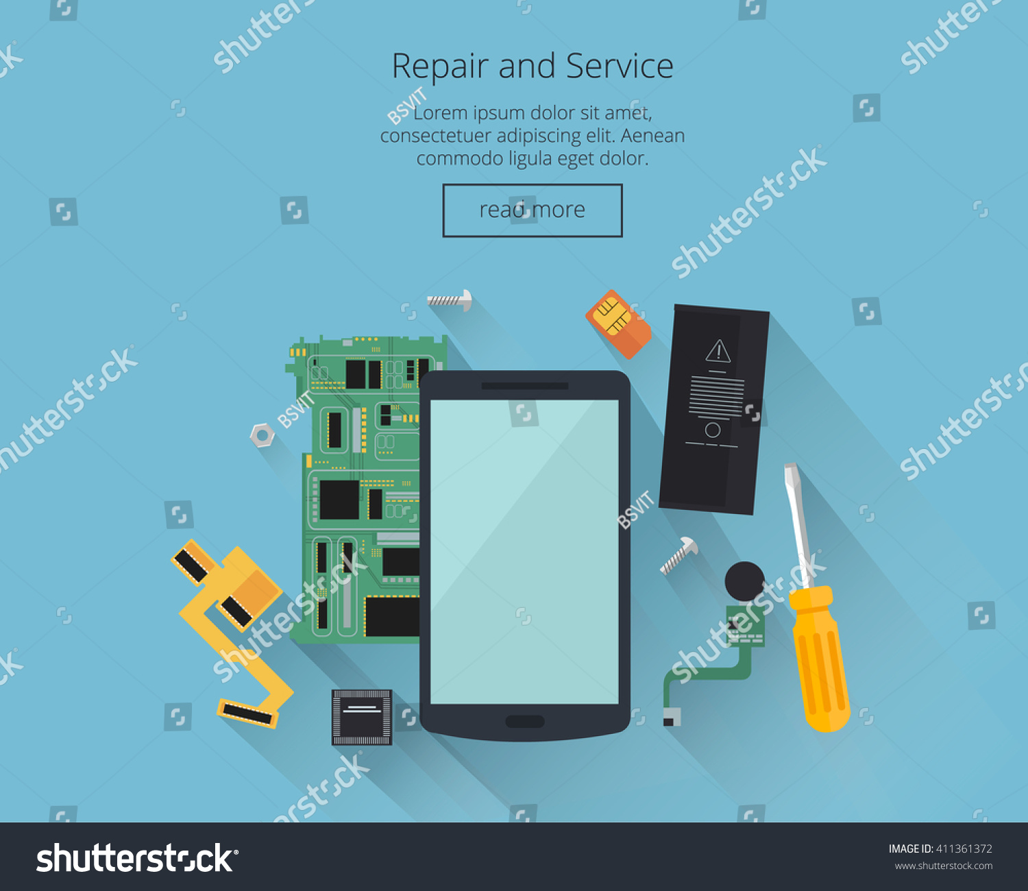 Mobile Repair Service Concept Smartphone Tools Stock Vector Royalty Parts Of A Laptop Computer Diagram And With Spare Partstop View
