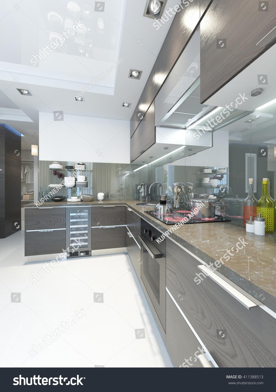 Kitchencontemporary Brown White Walls Marble Floors Stock Illustration 411388513