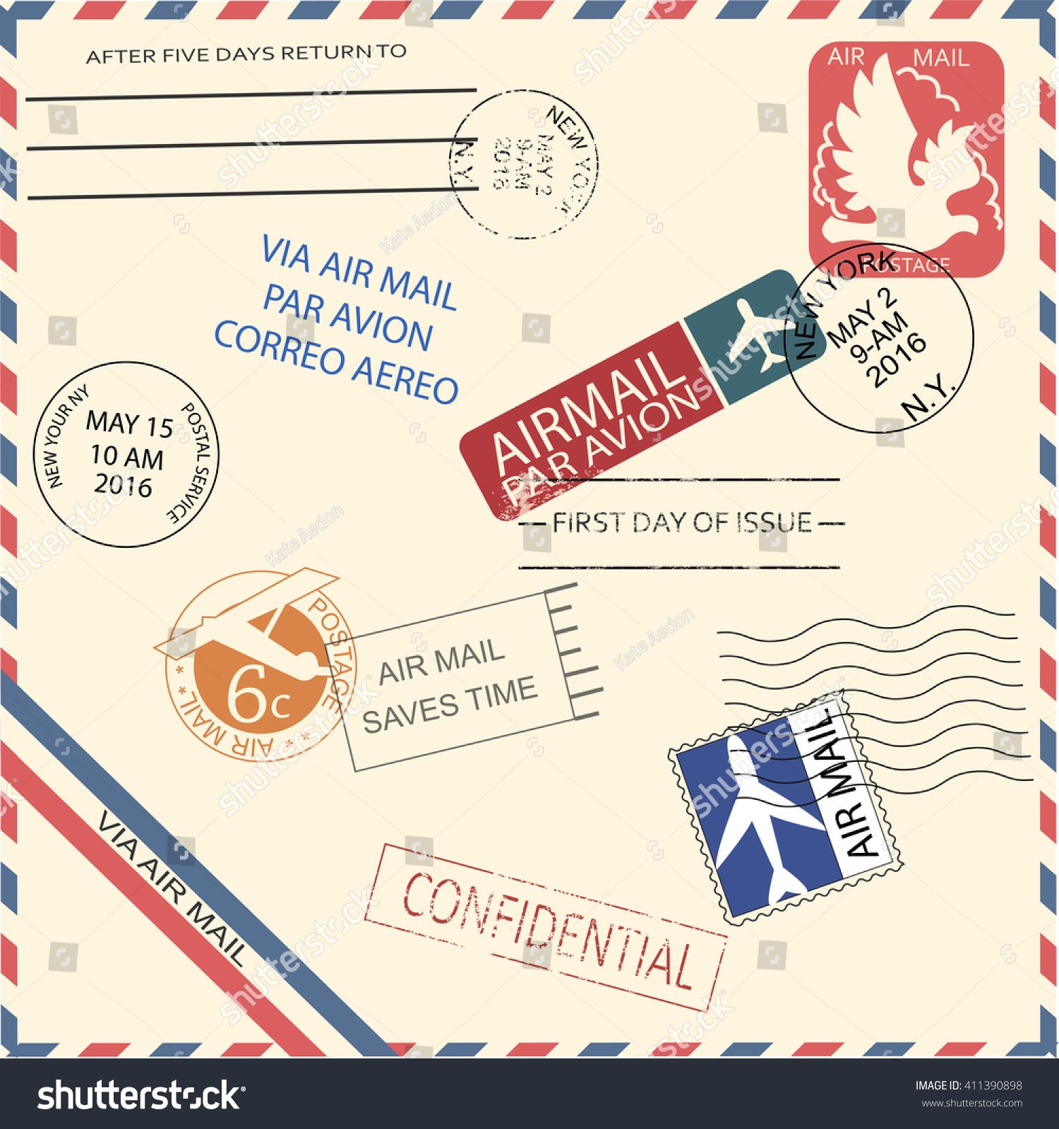 Vintage Air Mail Envelope Stamps Marks Stock Vector